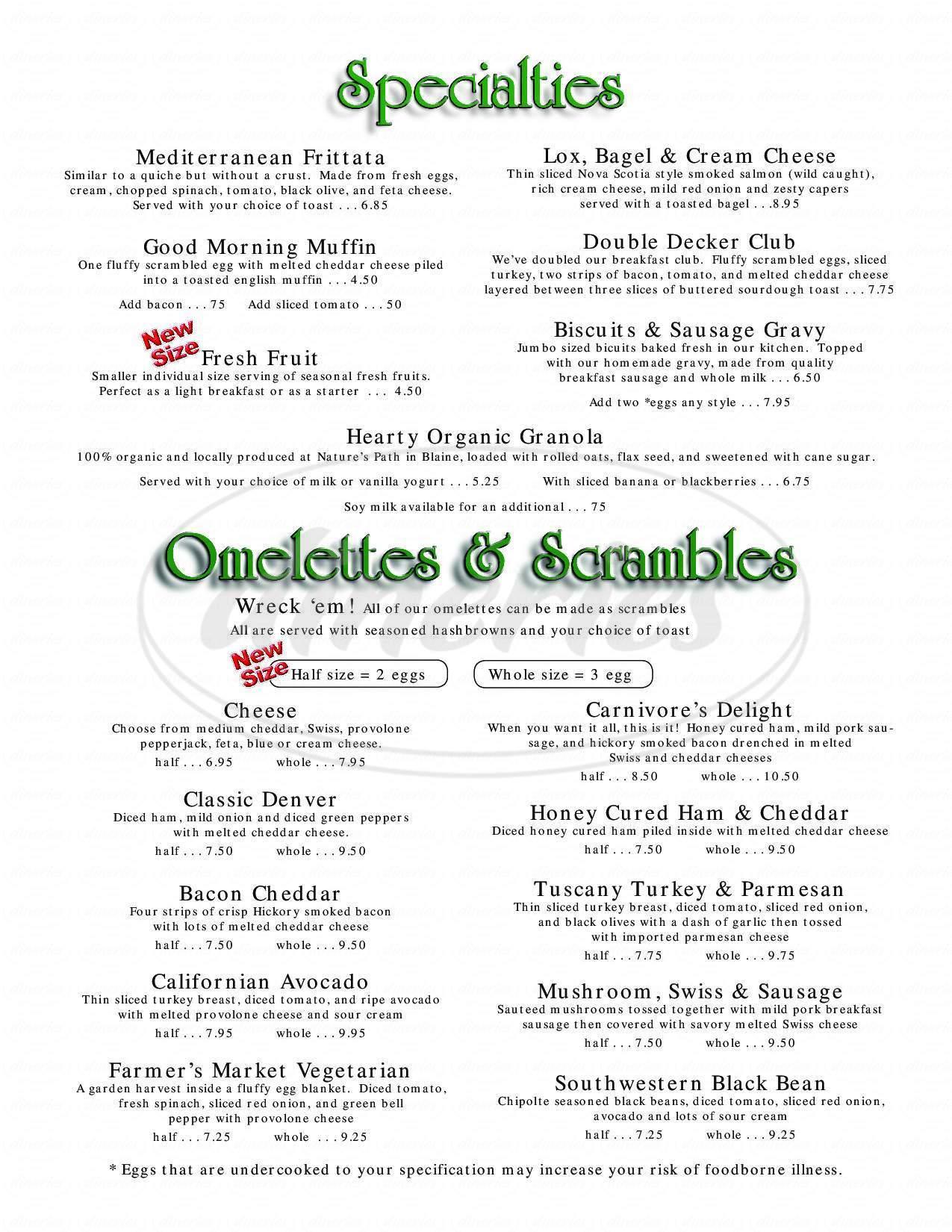 menu for Skylarks Hidden Cafe