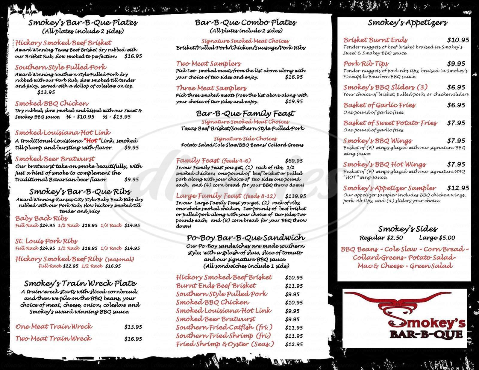menu for Smokey's BBQ