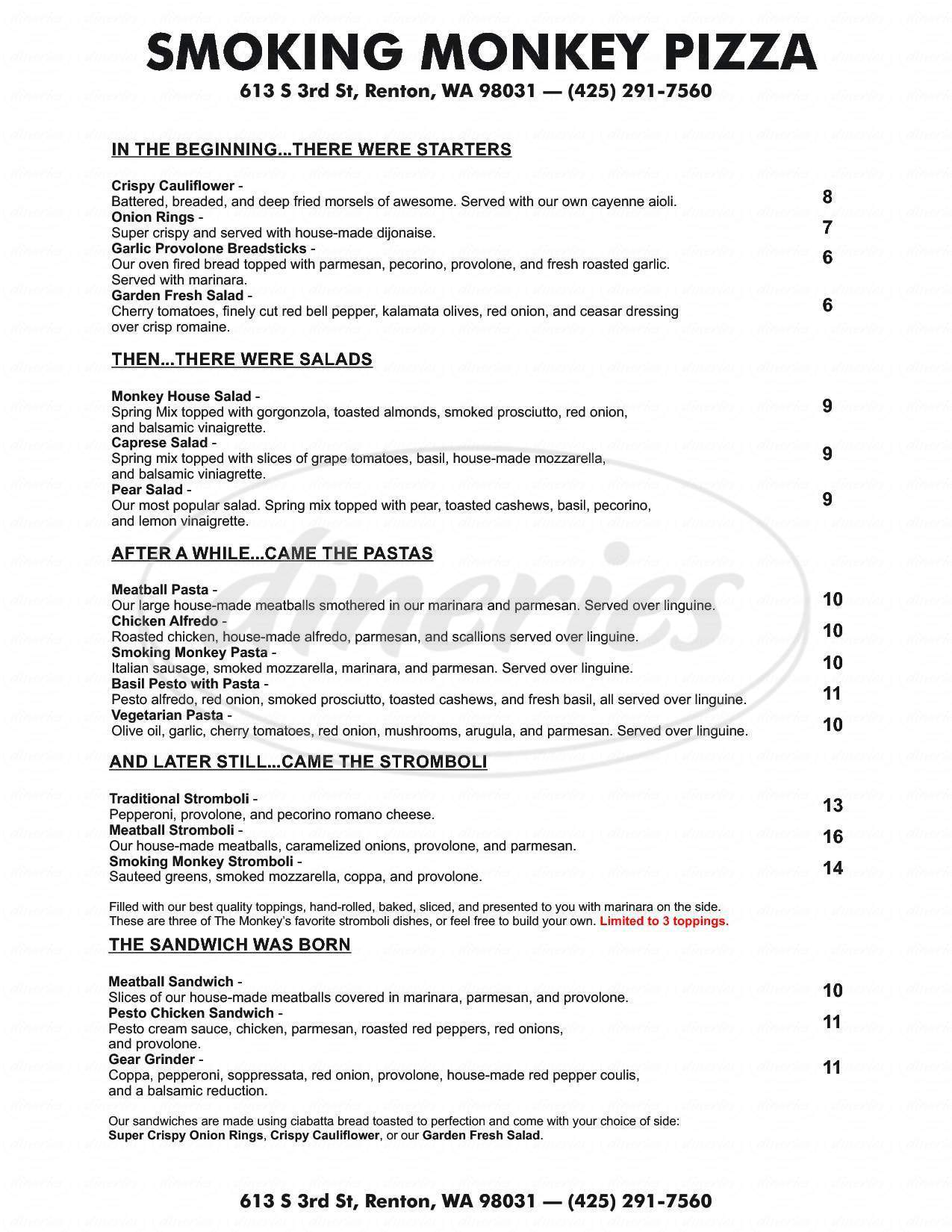 menu for Smoking Monkey Pizza