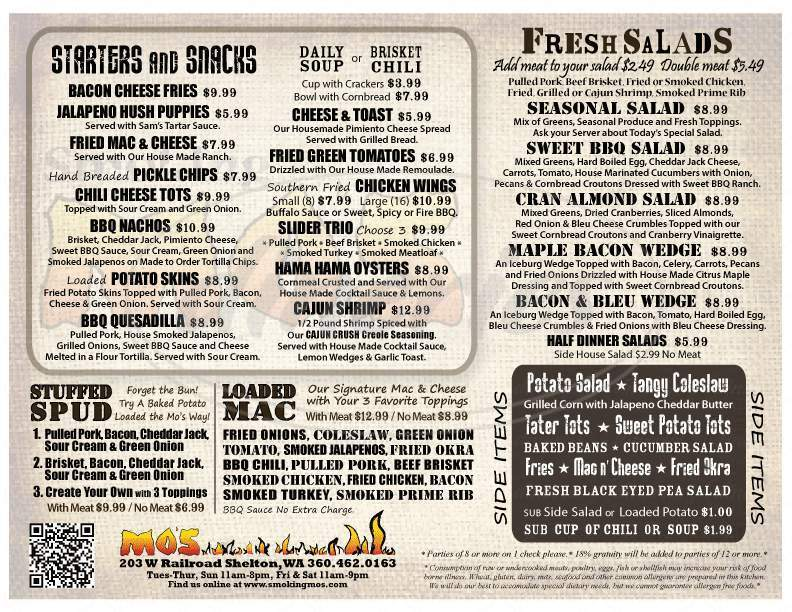 menu for Smoking Mo's