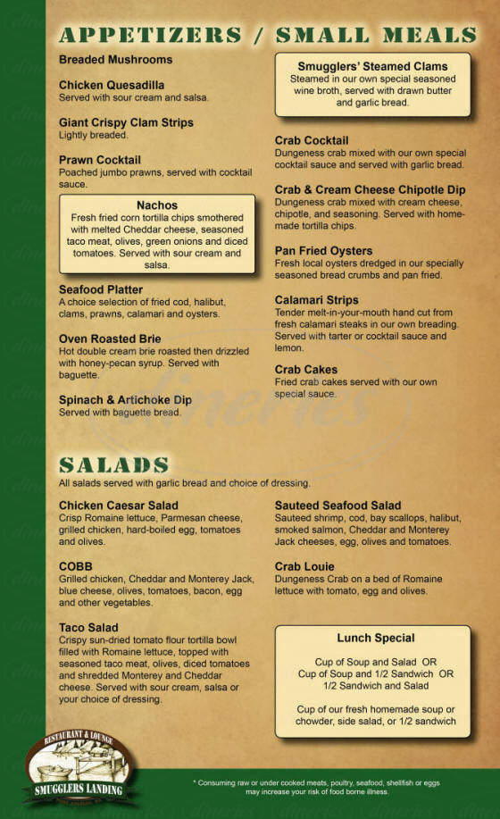menu for Smuggler's Landing Restaurant & Lounge