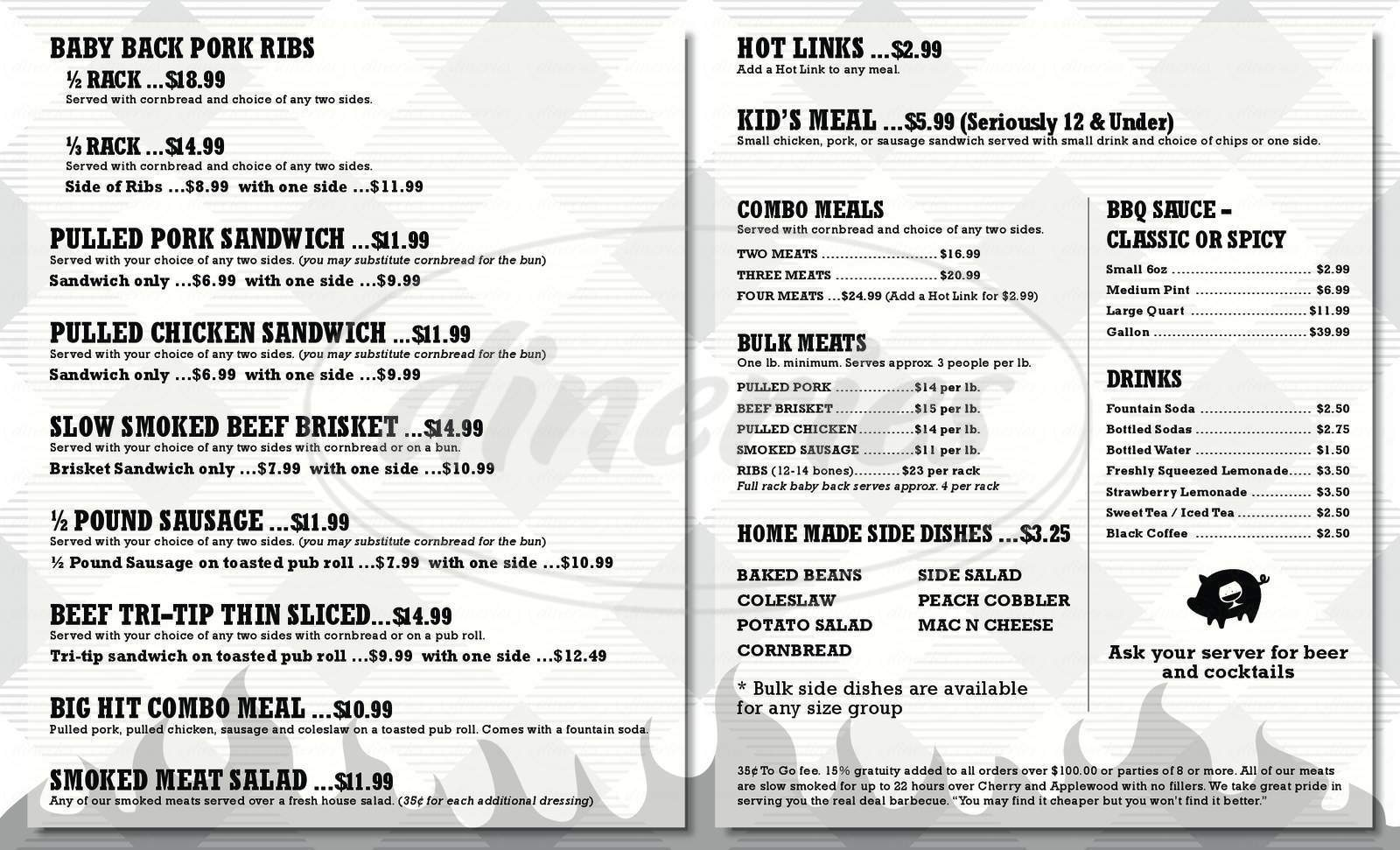 menu for Southbay Dickerson's BBQ