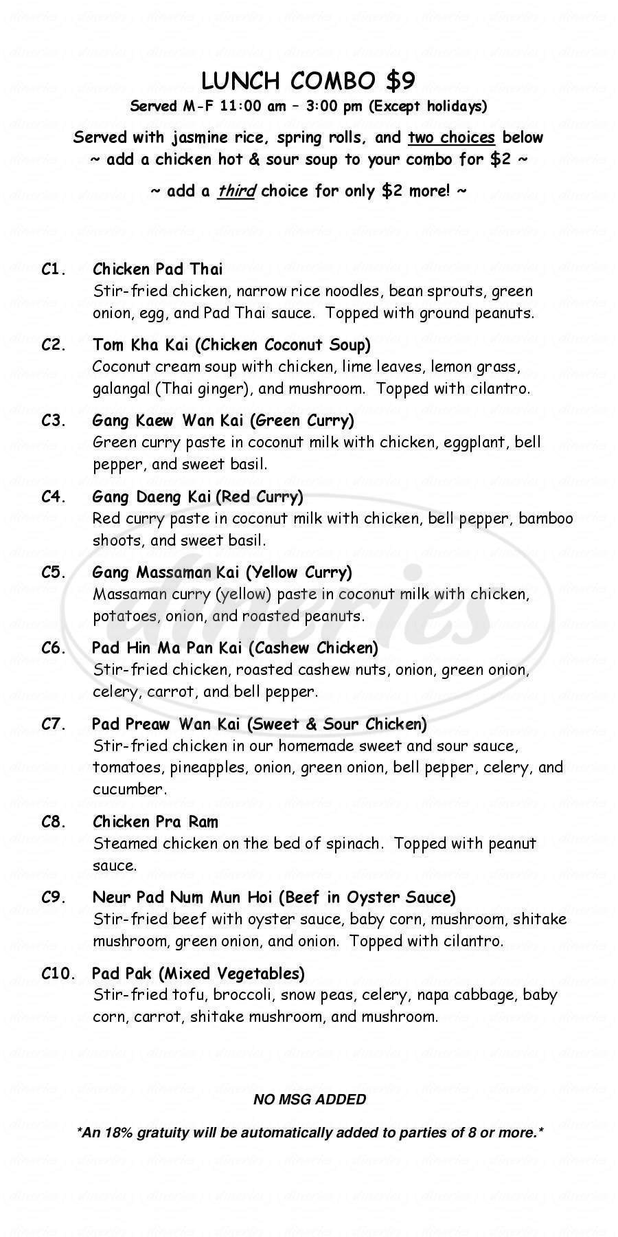 menu for Bangkok Thai