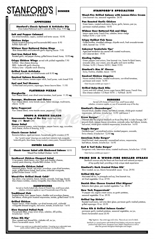 menu for Stanford's Restaurant & Bar