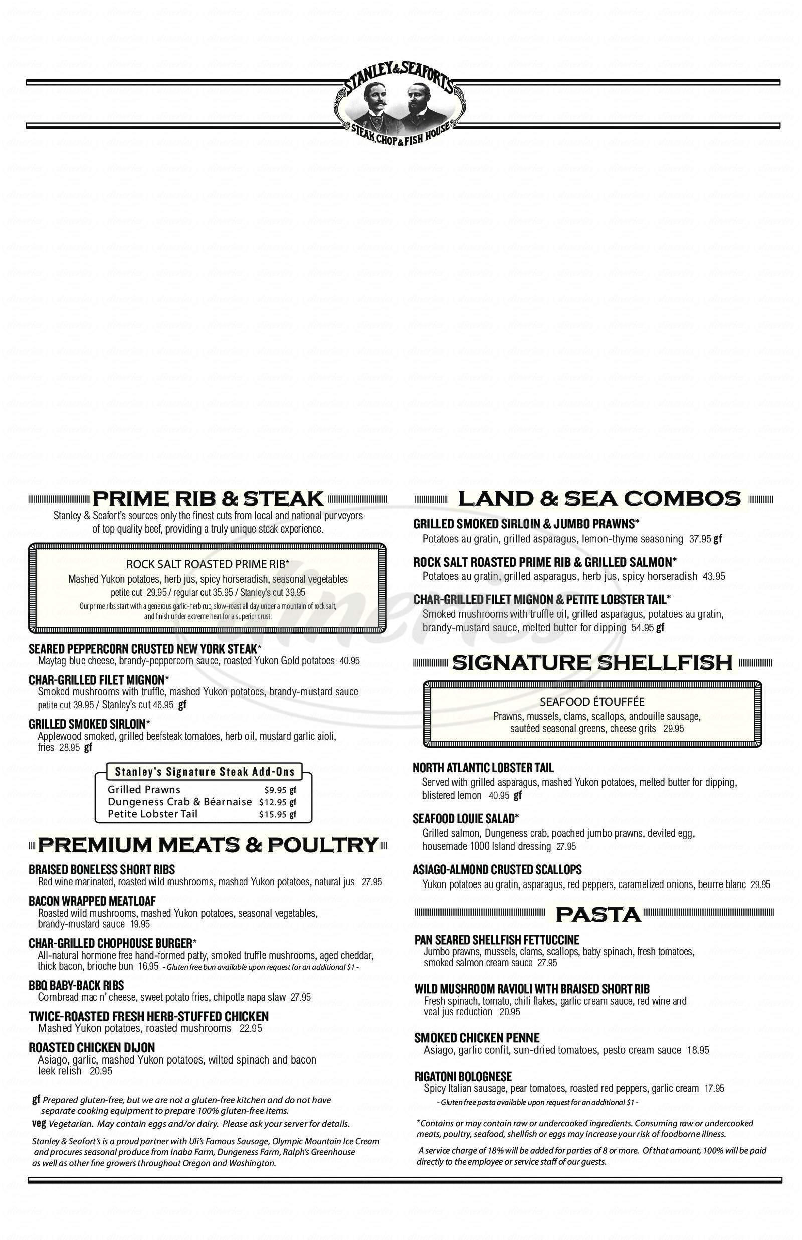 menu for Stanley & Seafort's Steak Chop & Fish House