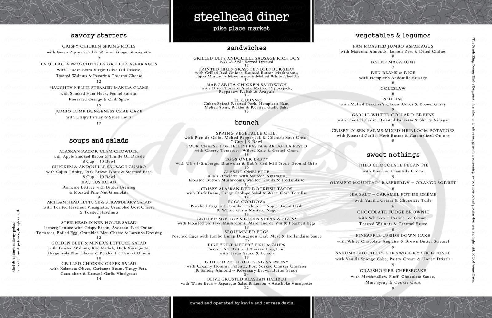 menu for Steelhead Diner