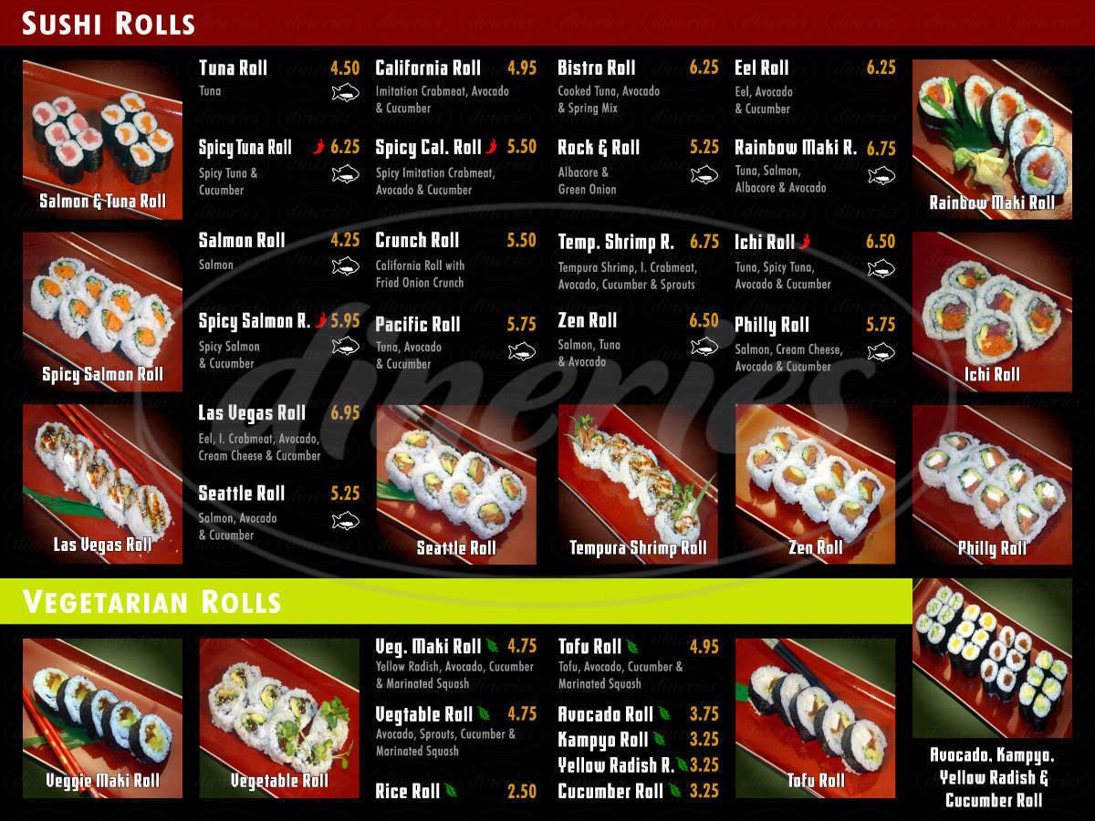 menu for Sushi Kudasai