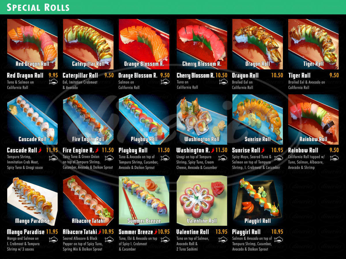 menu for Marinepolis Sushi Land