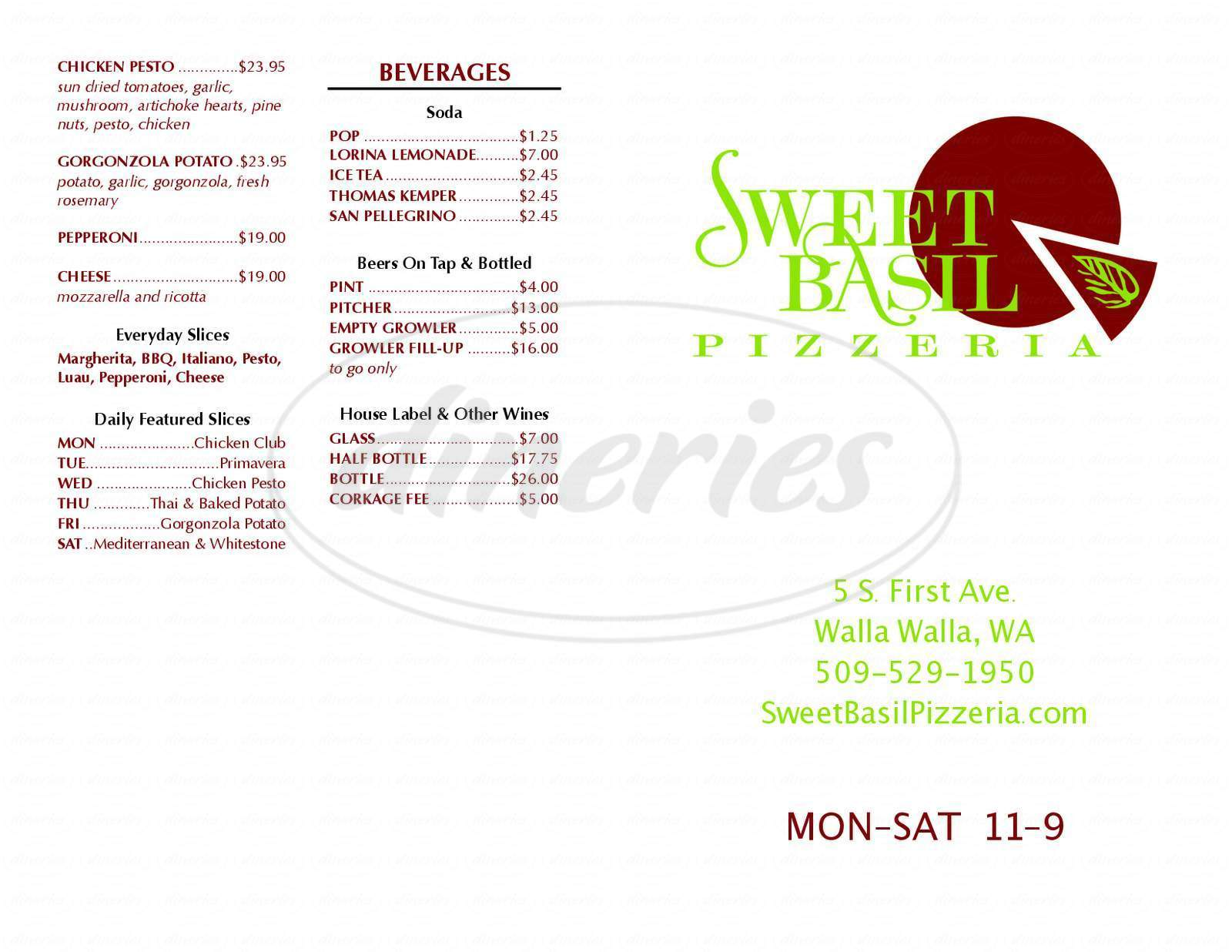 menu for Sweet Basil Pizzeria