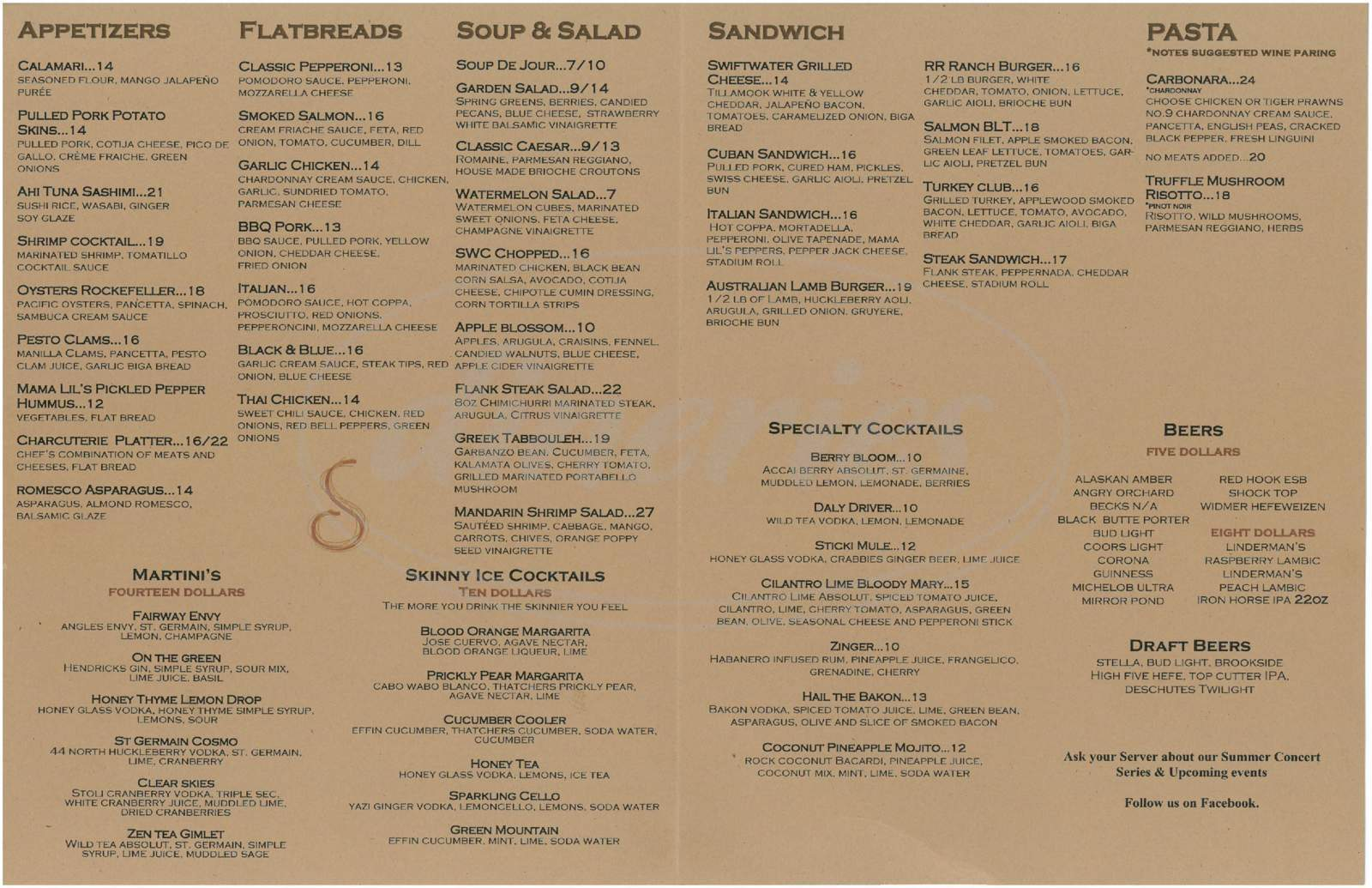 menu for Swiftwater Cellars