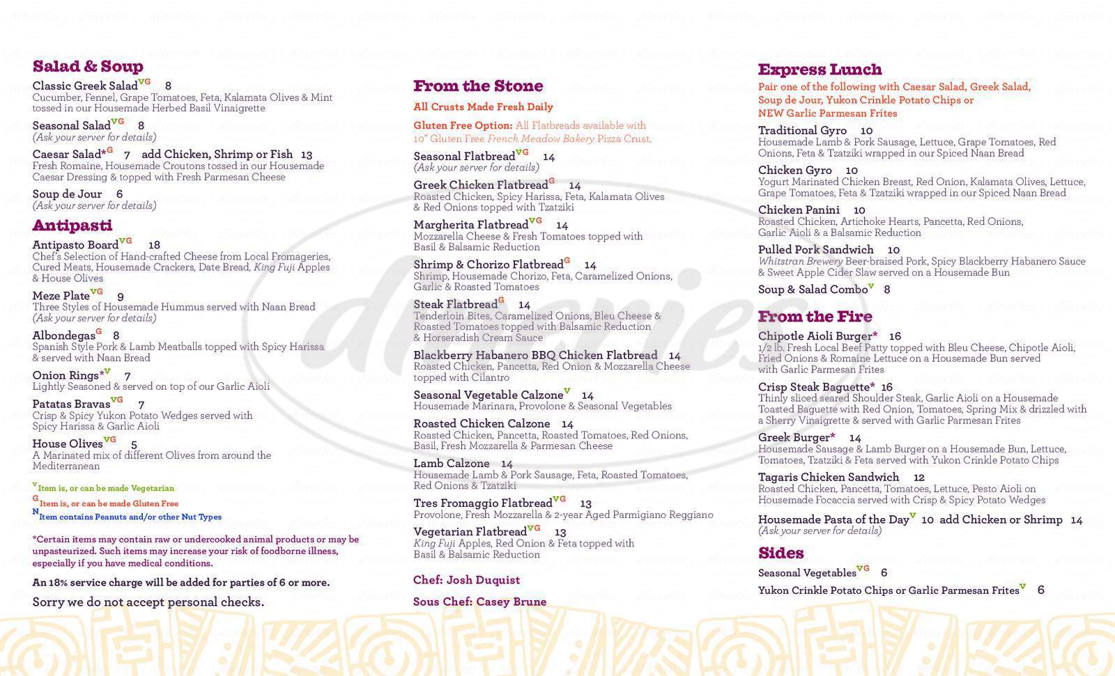 menu for Tagaris Winery and Restaurant