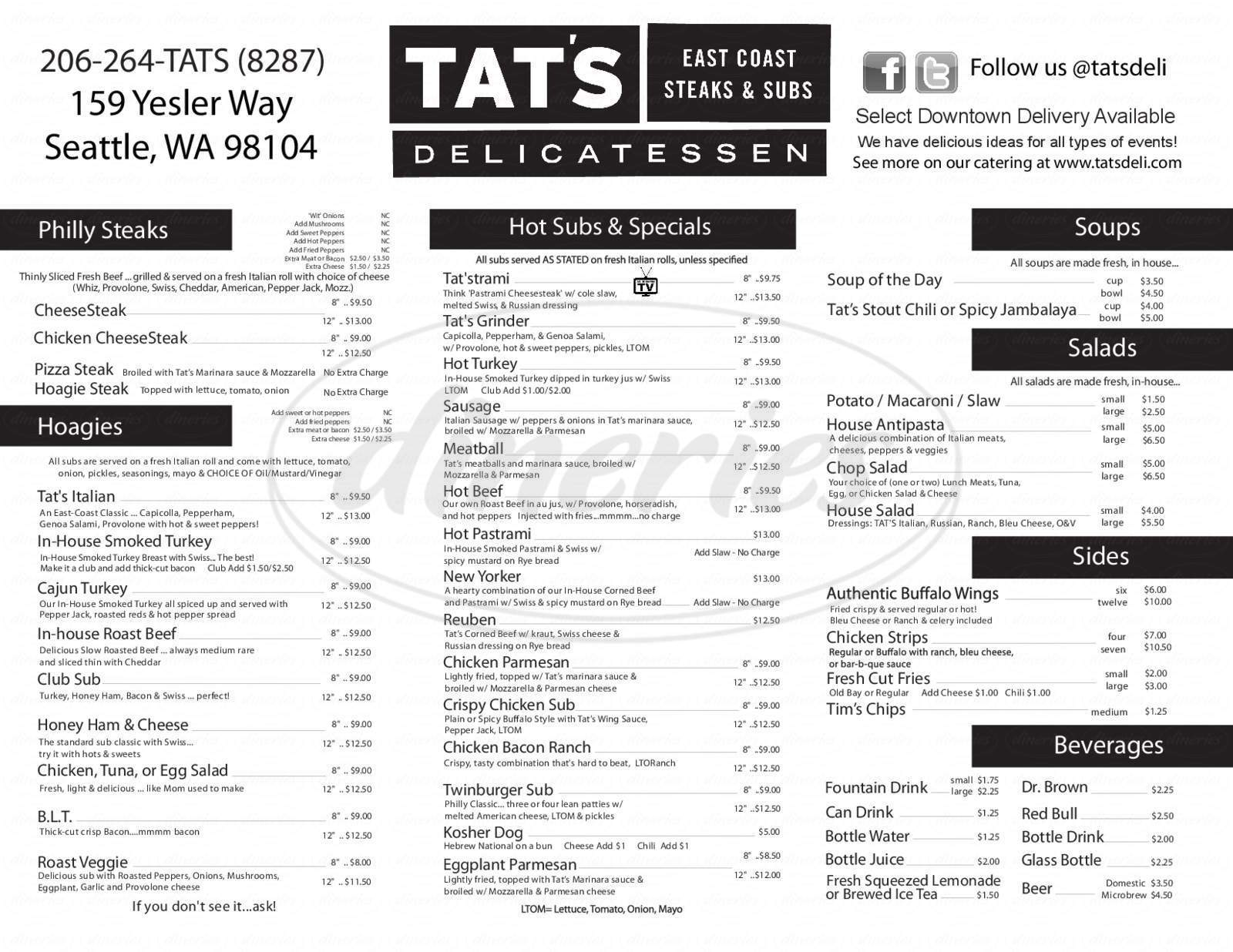 menu for Tat's Delicatessen