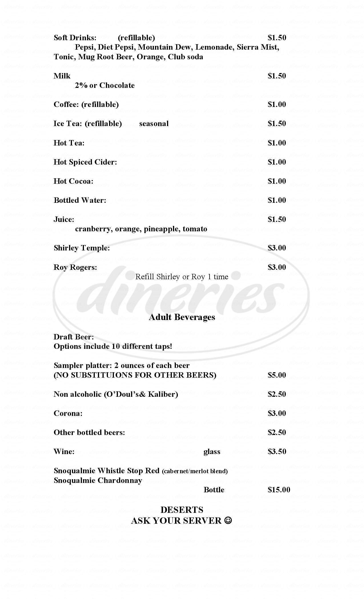 menu for C&D'S Tekoa Bar & Grill