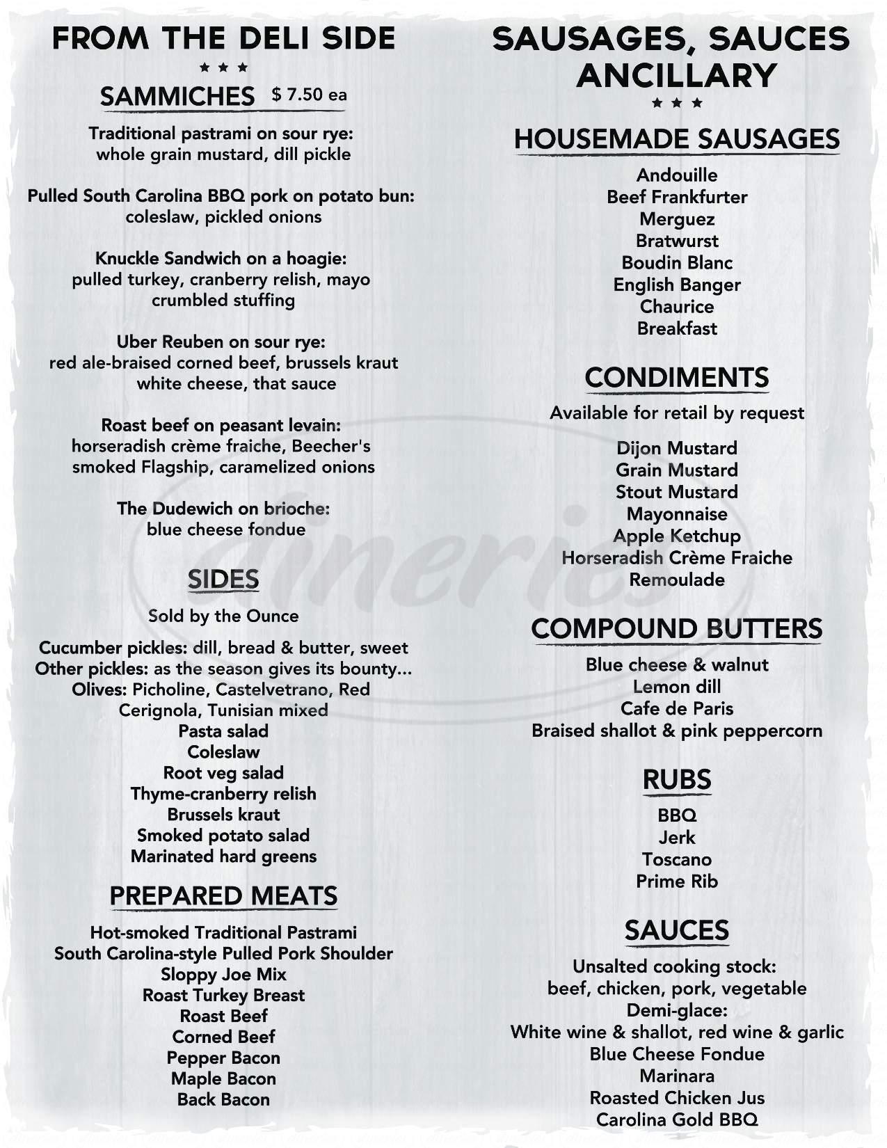 menu for Terra Cole