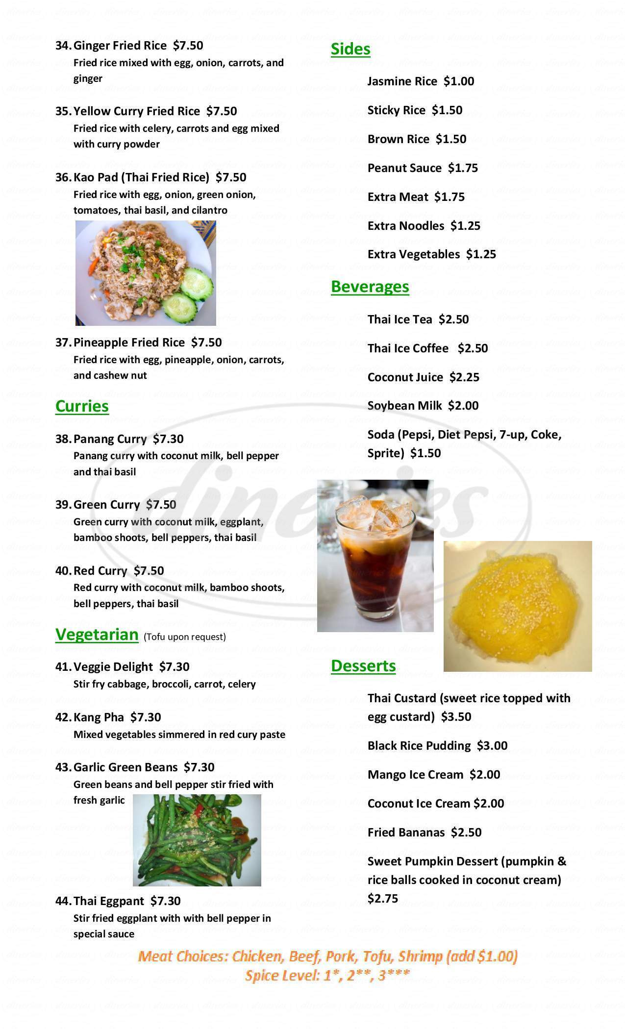 menu for Thai Gold Triangle