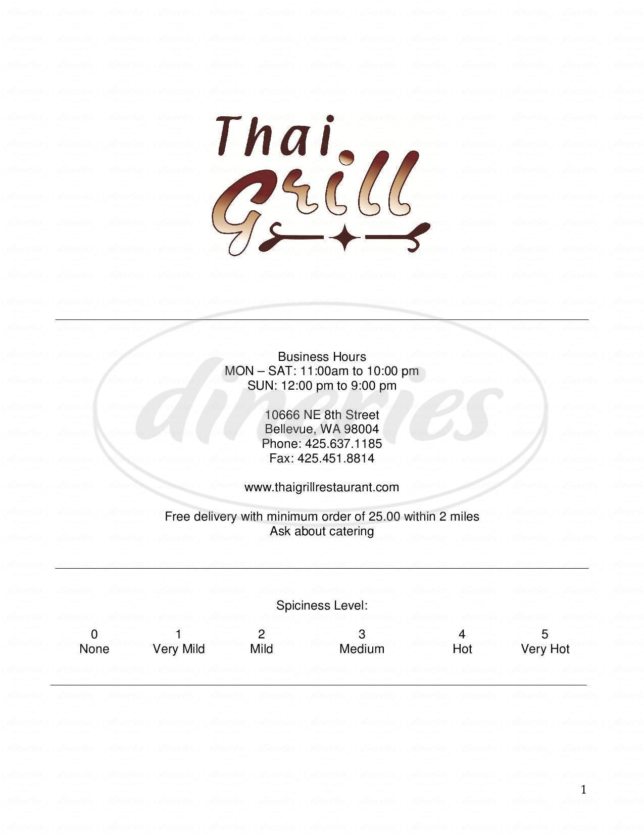 menu for Thai Grill