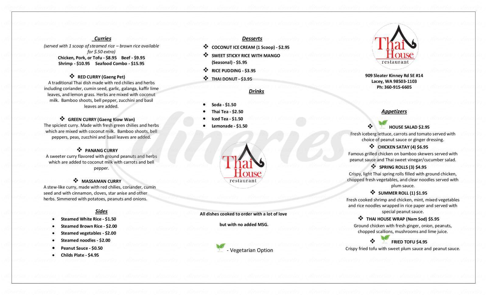 menu for Thai House