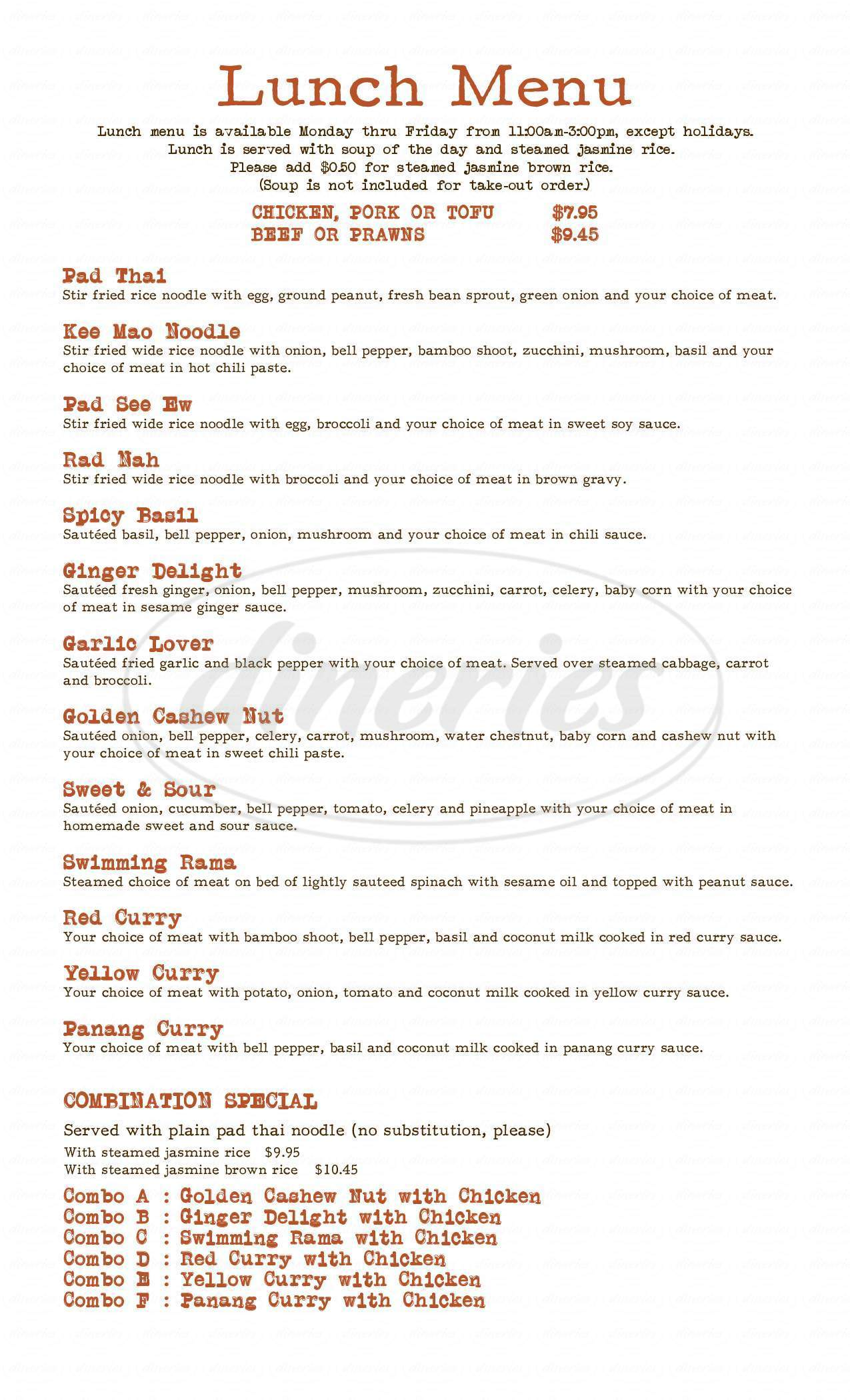 menu for Thai Thani Kitchen