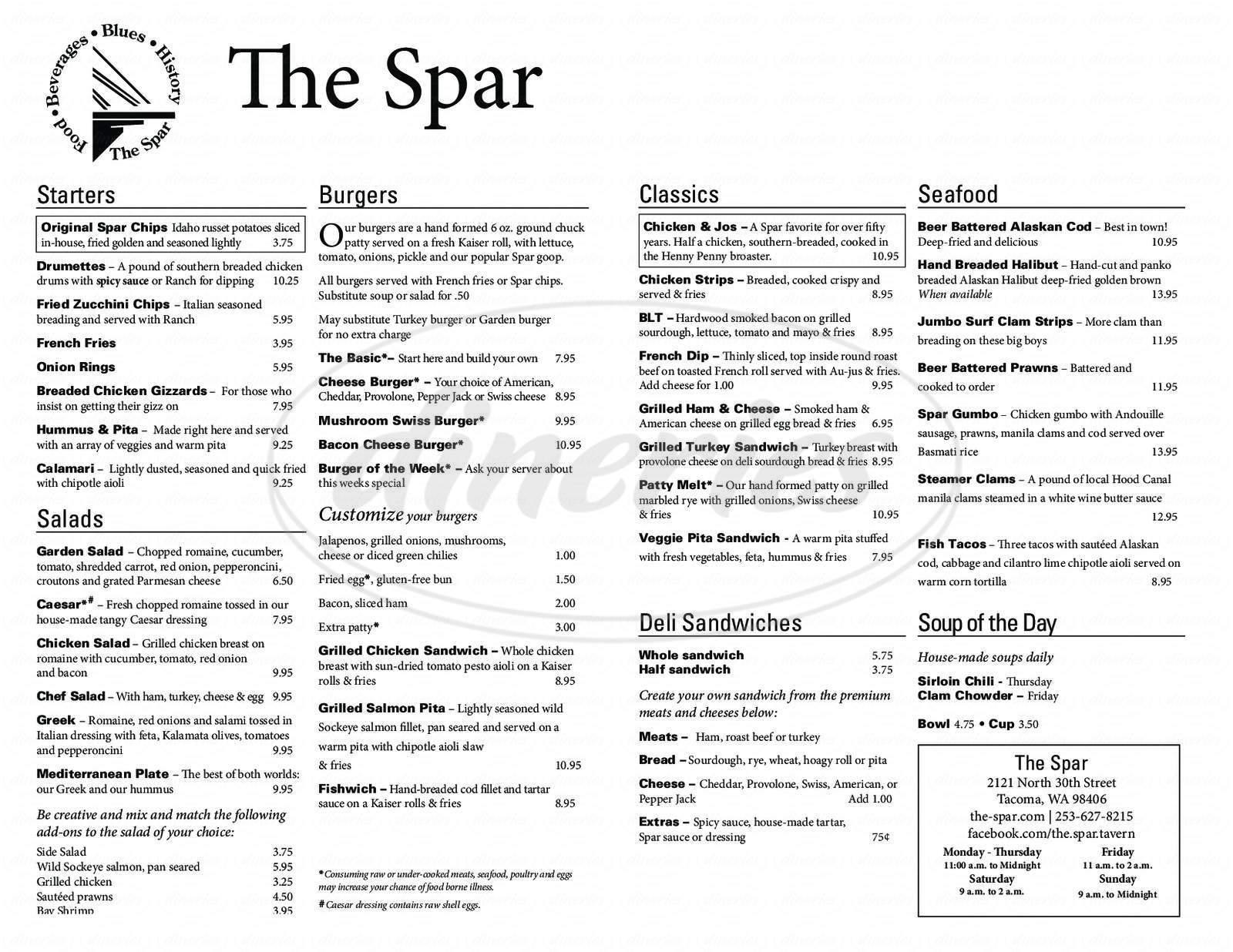menu for The Spar
