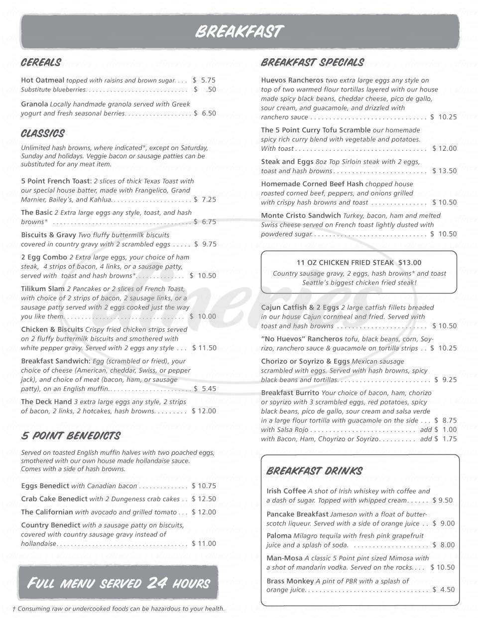 menu for The 5 Point Café