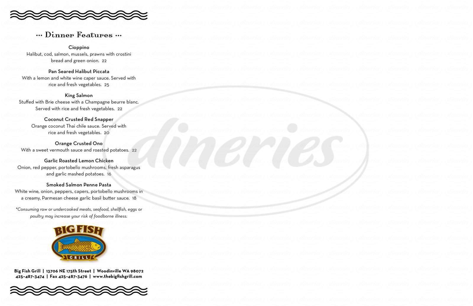 menu for Big Fish Grill