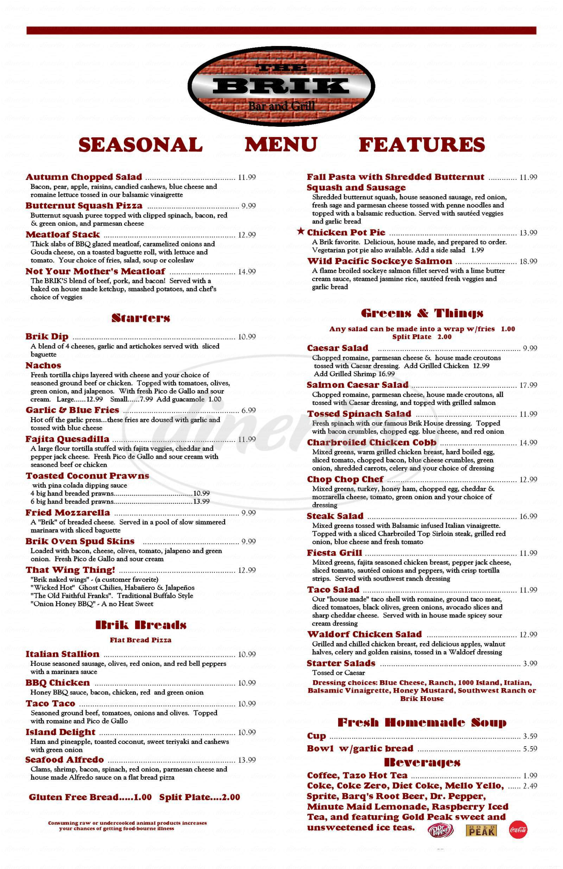 menu for The Brik