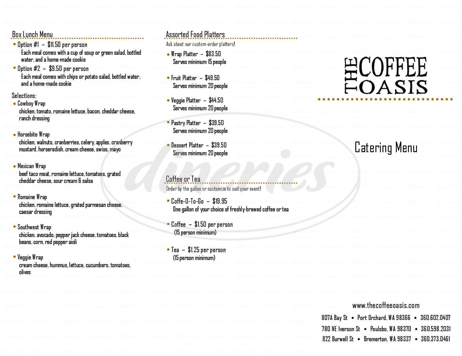 menu for The Coffee Oasis