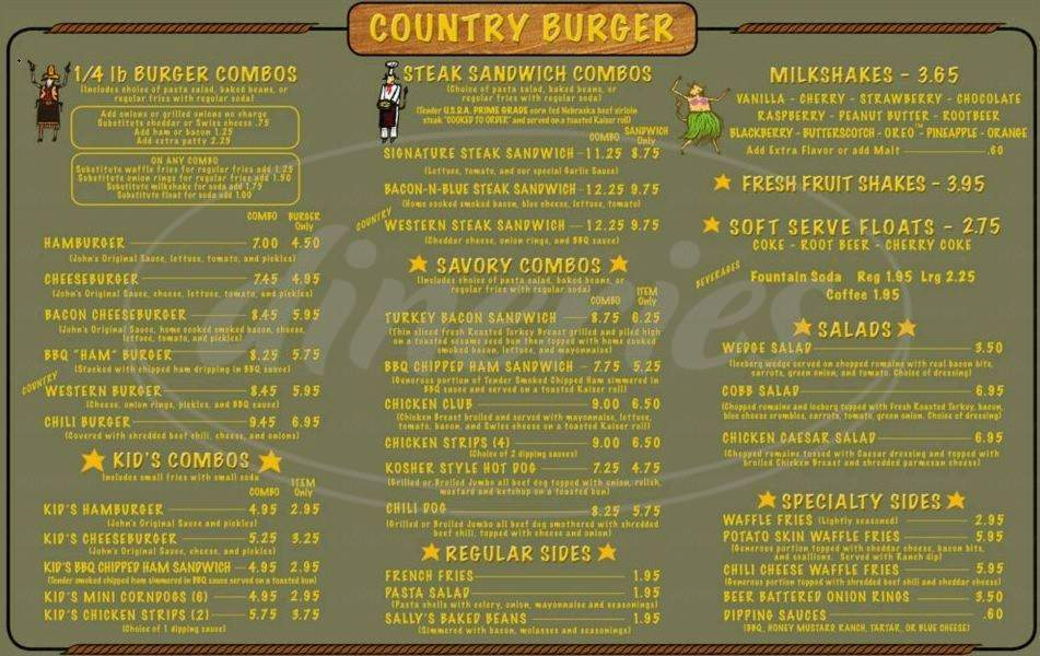 menu for Country Burger