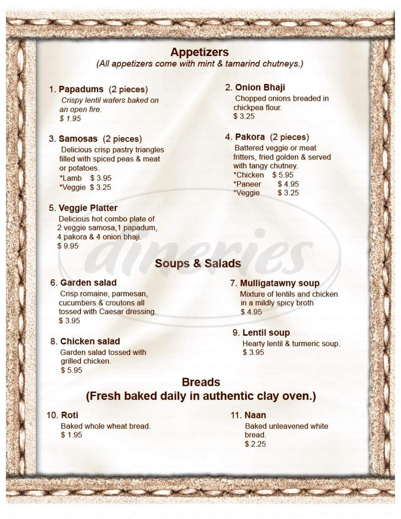 menu for The Curry Indian Cuisine & Lounge