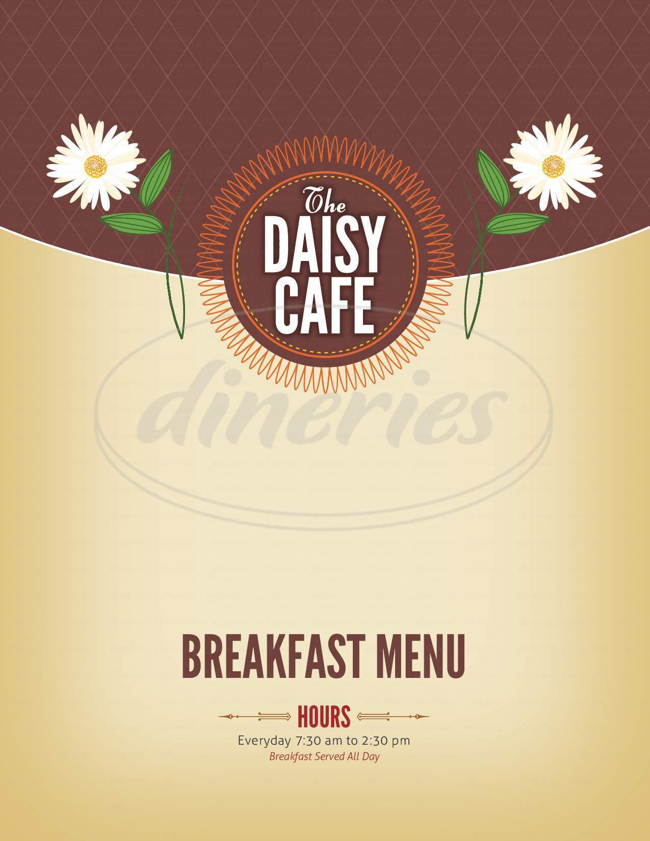 menu for The Daisy Cafe