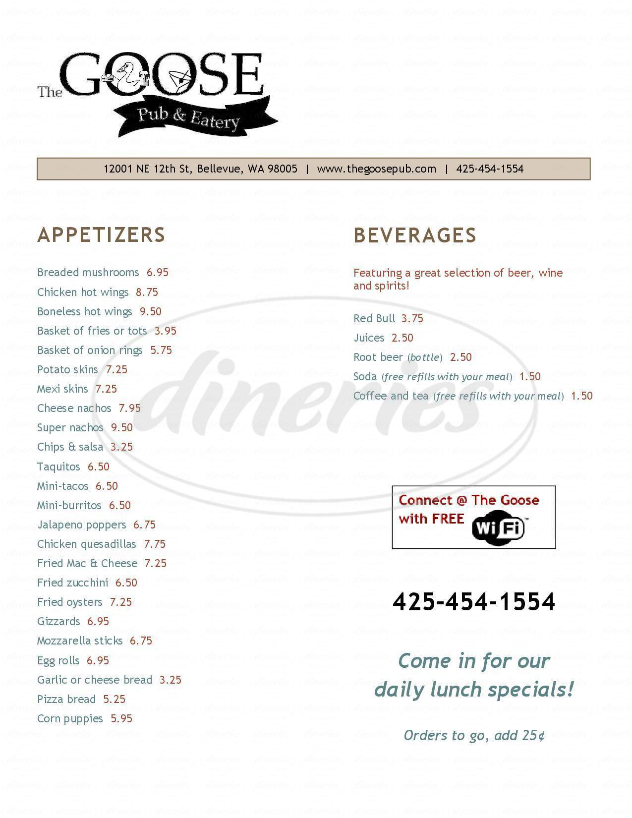 menu for The Goose Pub N Eatery