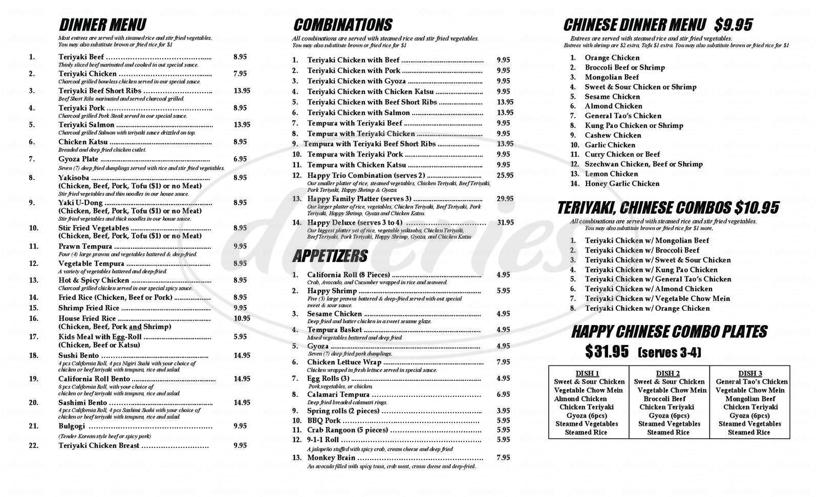 menu for Happy Teriyaki and Sushi
