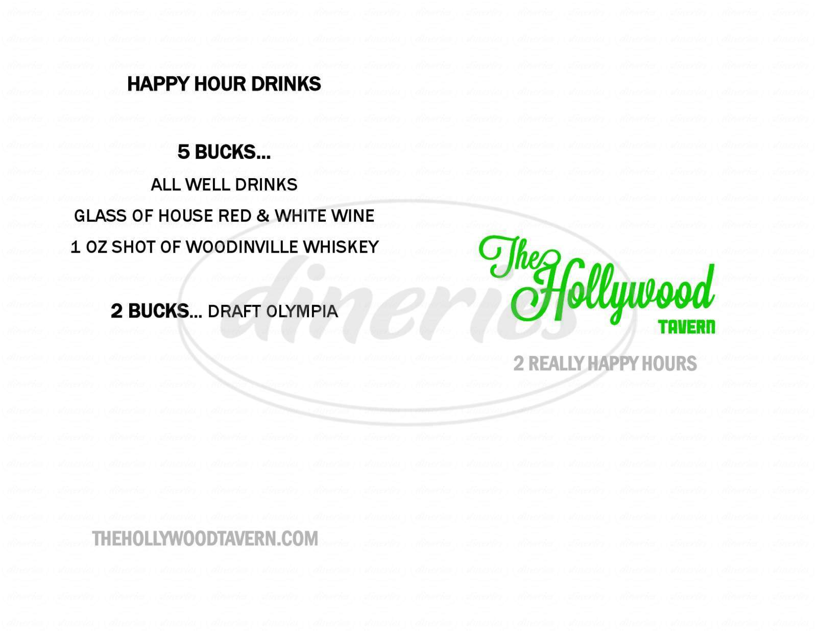 menu for The Hollywood Tavern