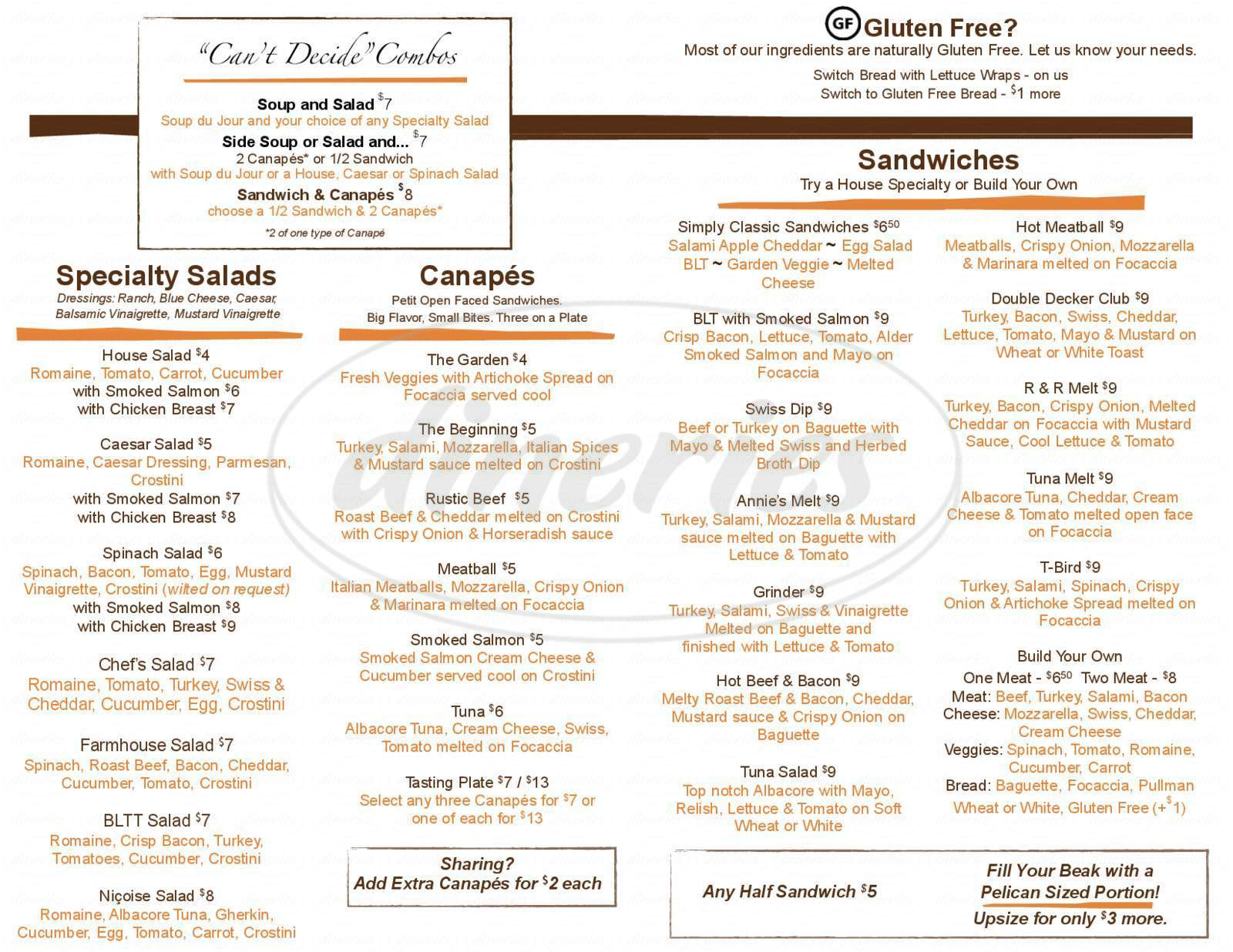 menu for The Hungry Pelican