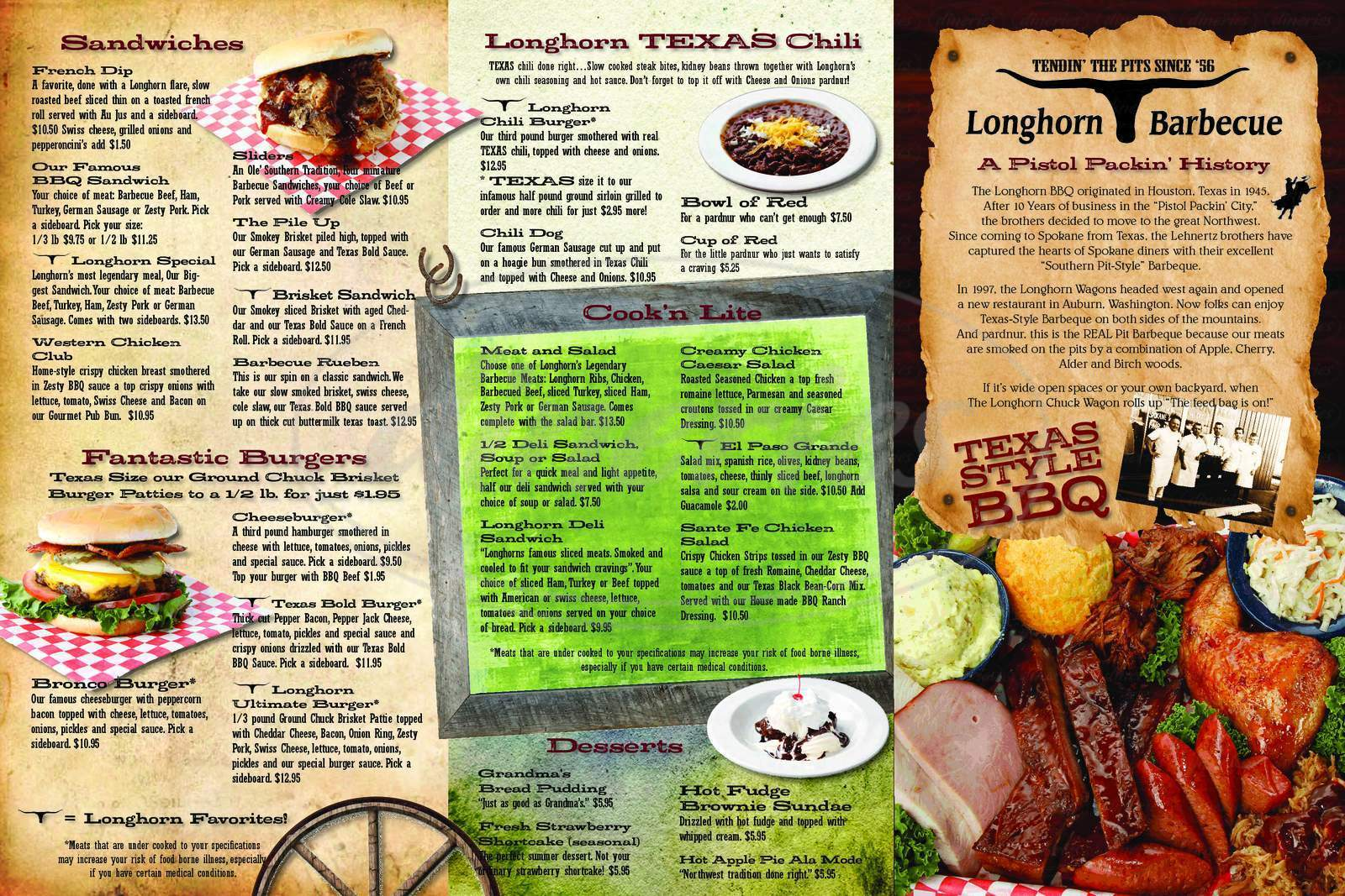 menu for Longhorn Barbecue