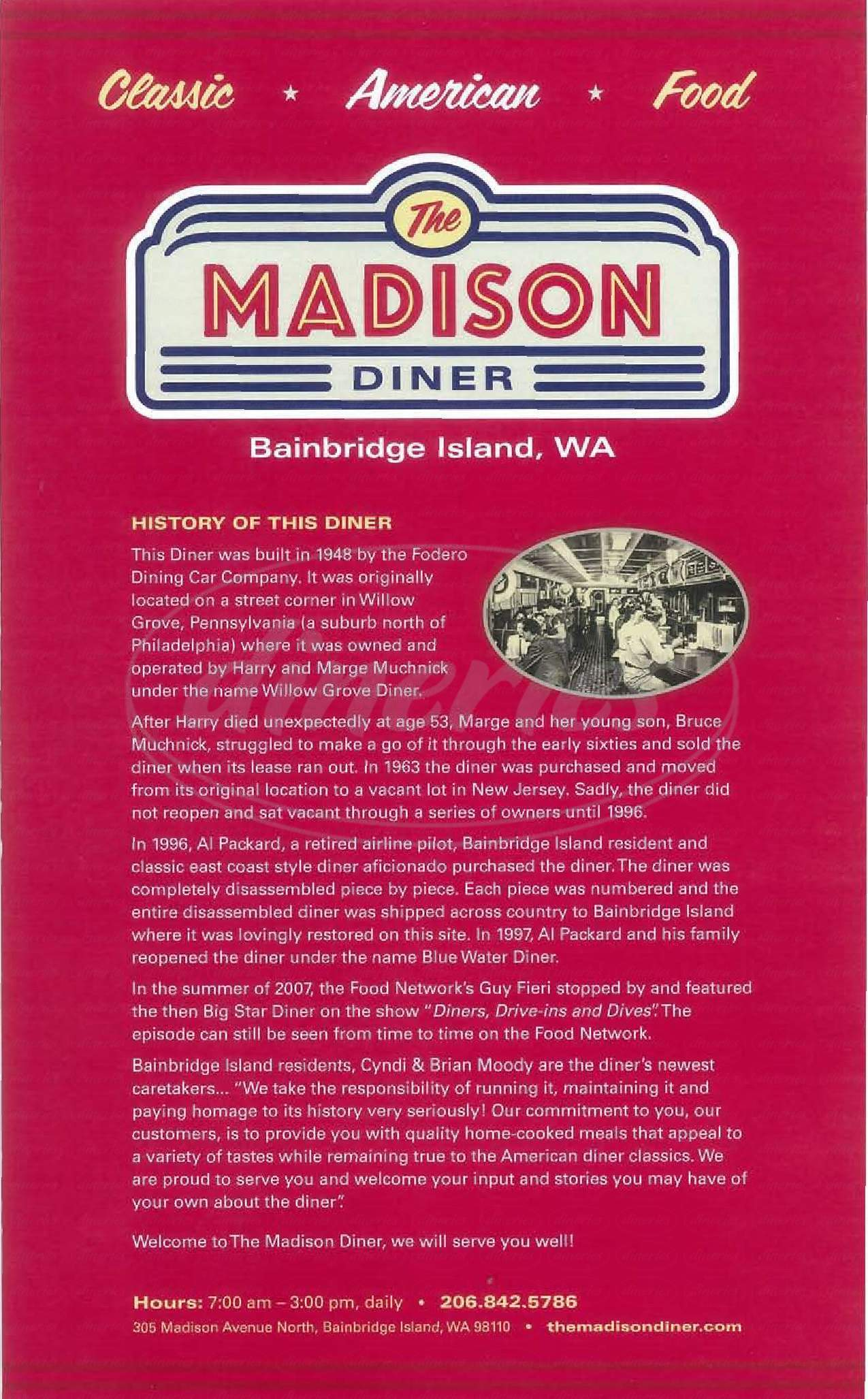menu for The Madison Diner