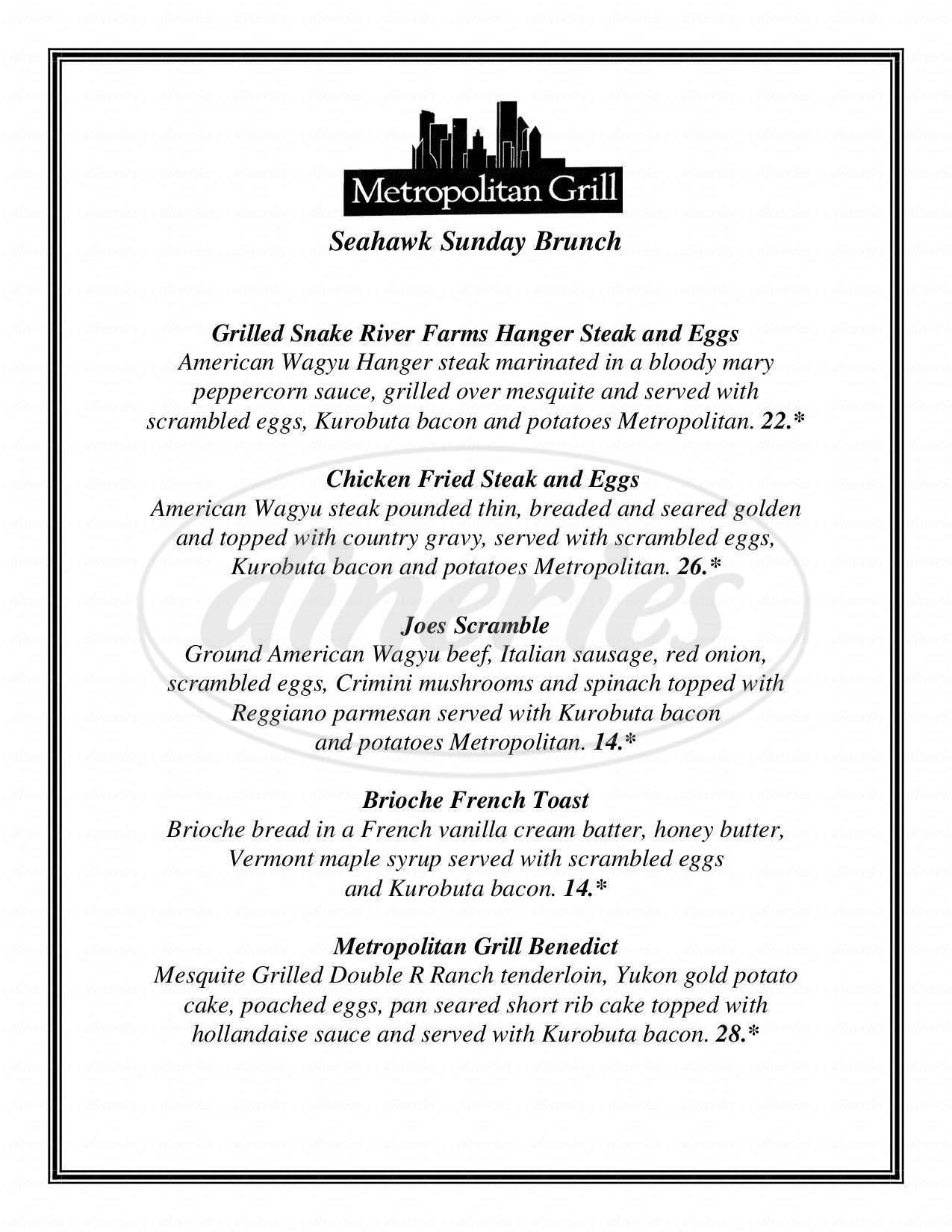 menu for Metropolitan Grill