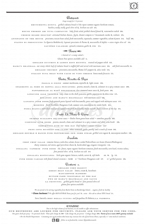 menu for The Pink Door