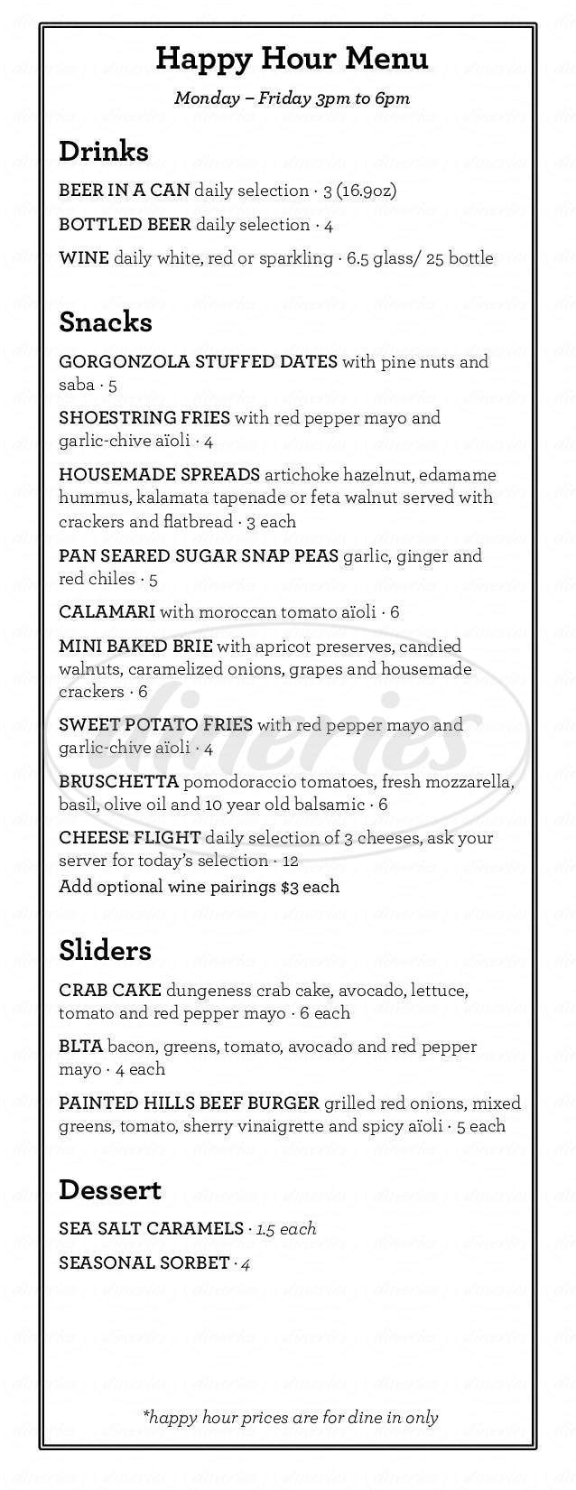 menu for Purple Cafe and Wine Bar