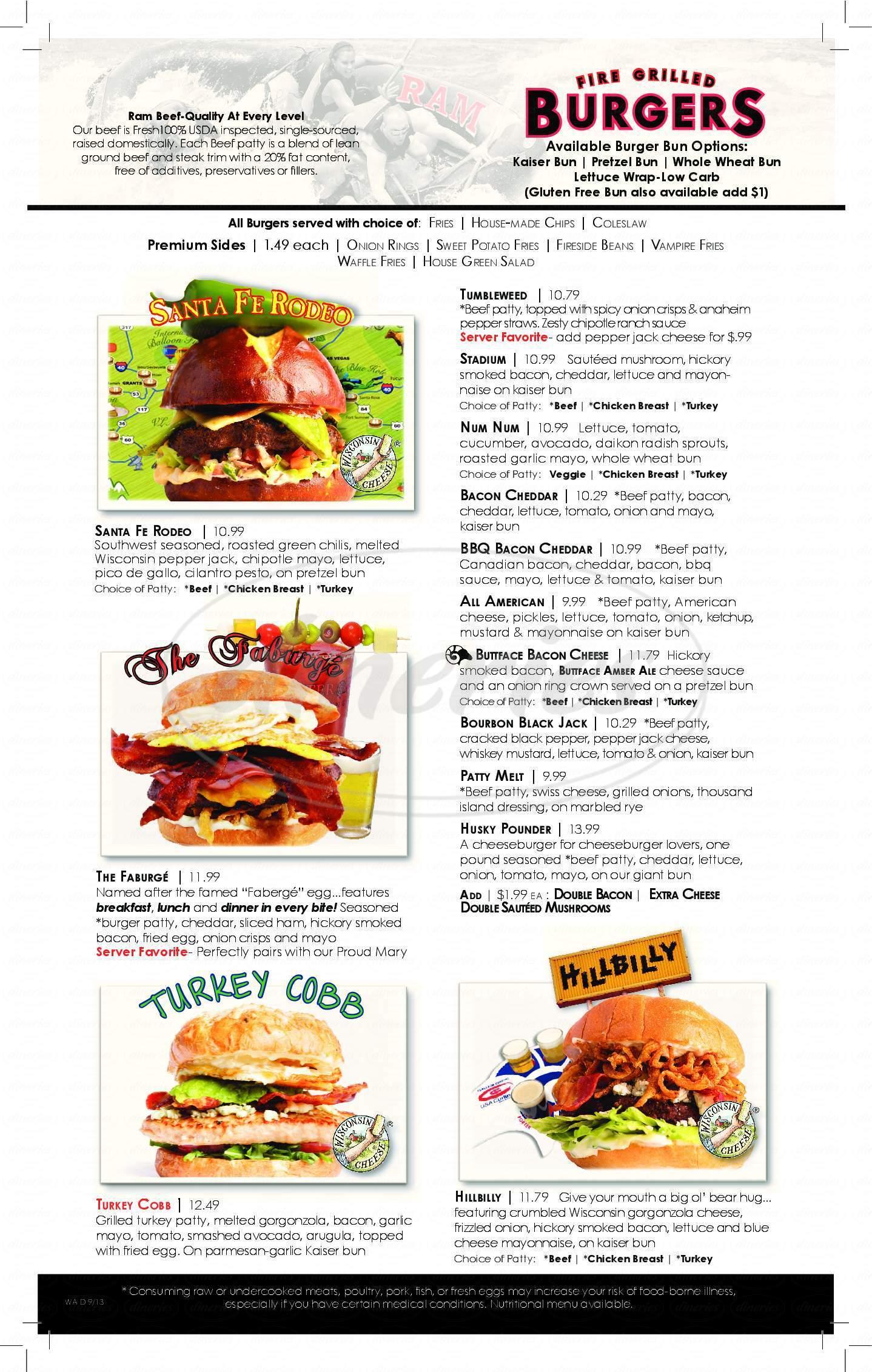 menu for Ram Restaurant & Brewery