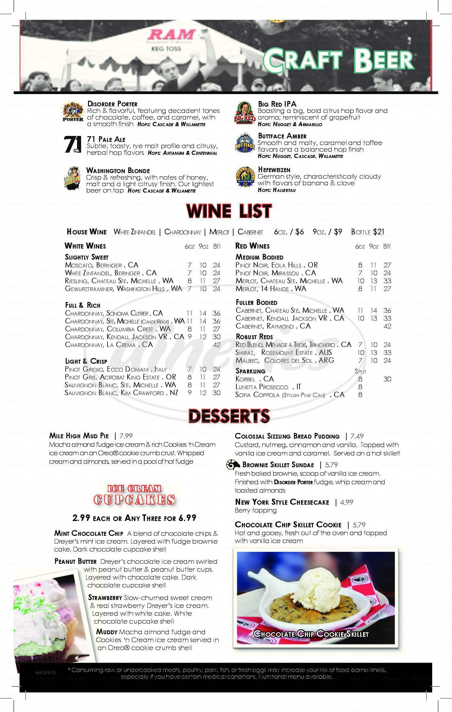 menu for Ram Restaurant & Brewery