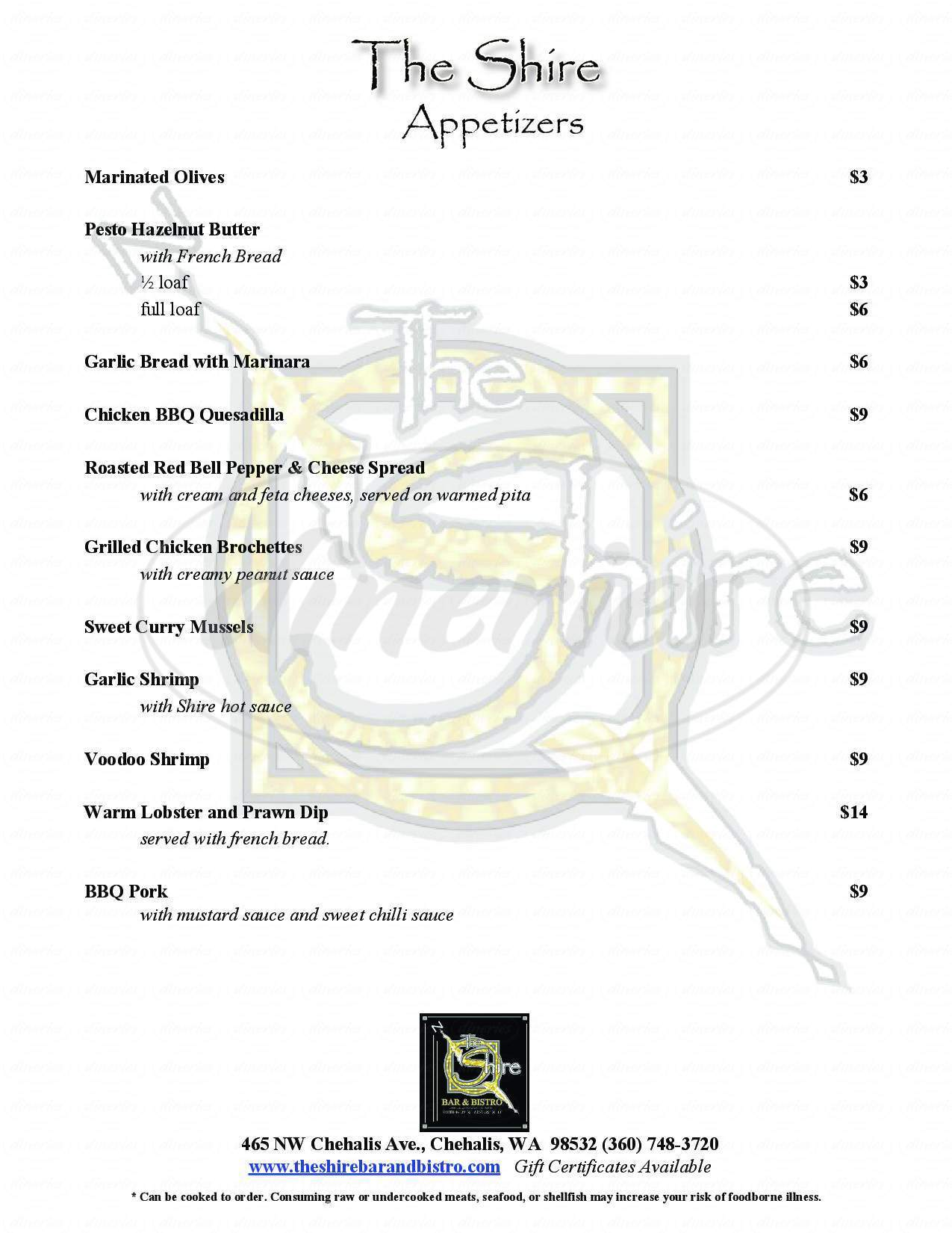 menu for The Shire Bar & Bistro