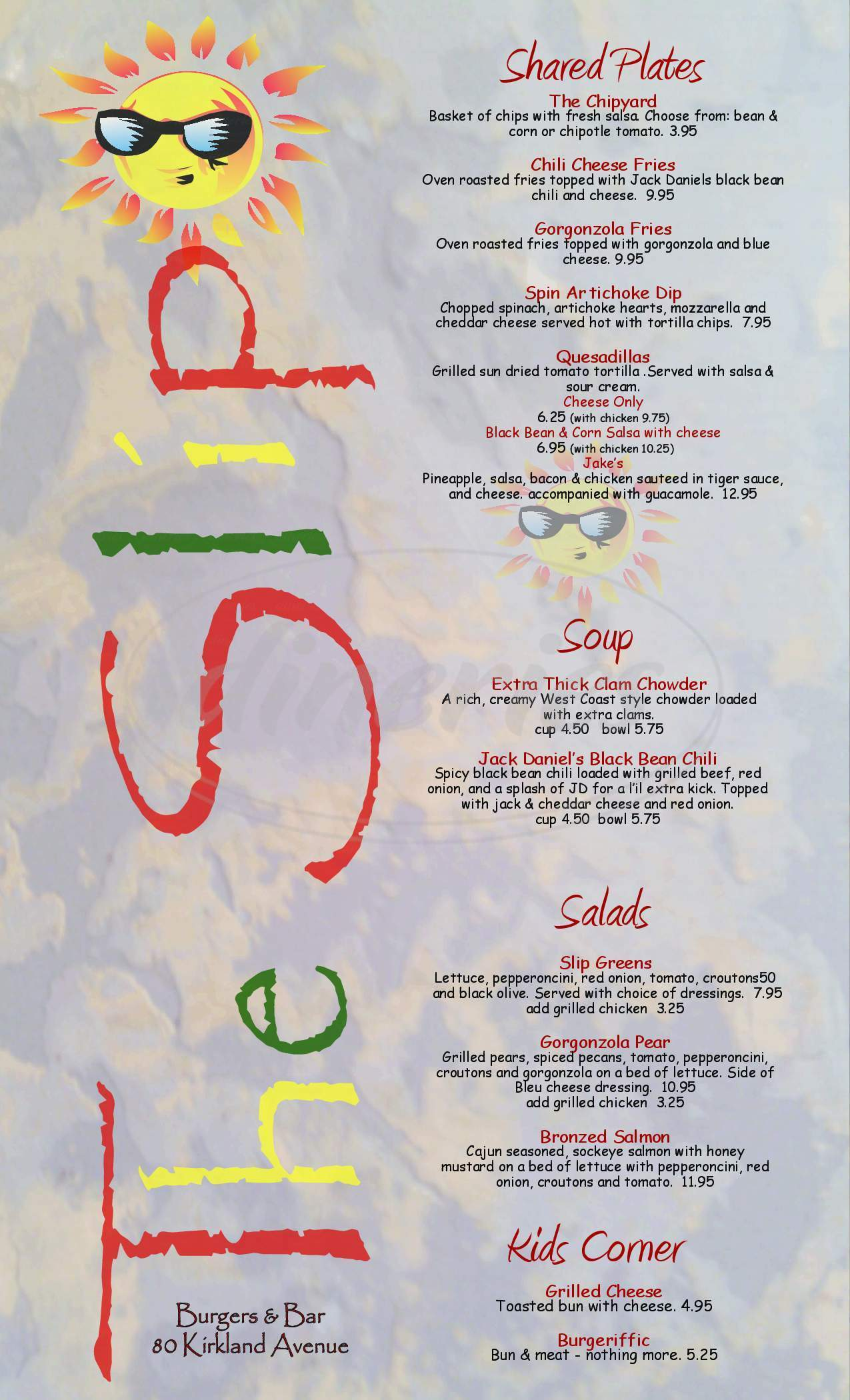 menu for The Slip