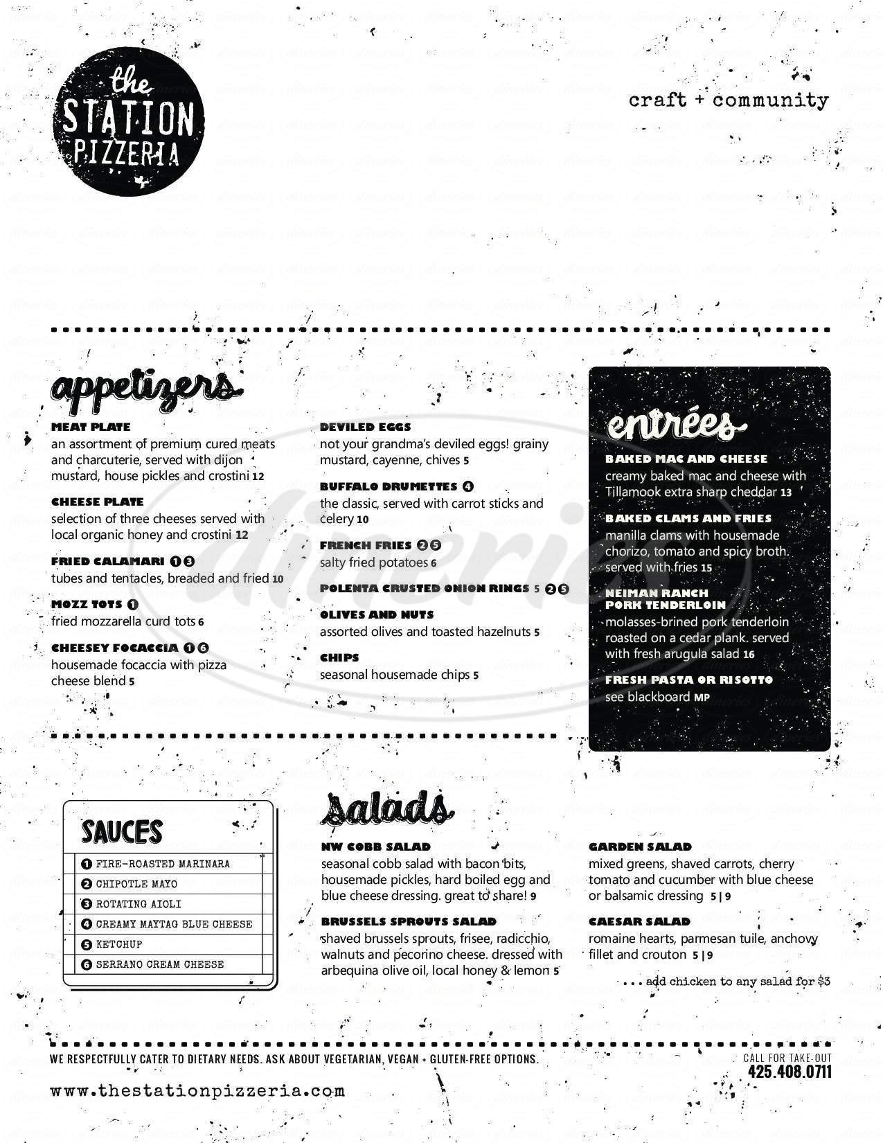 menu for The Station Pizzeria