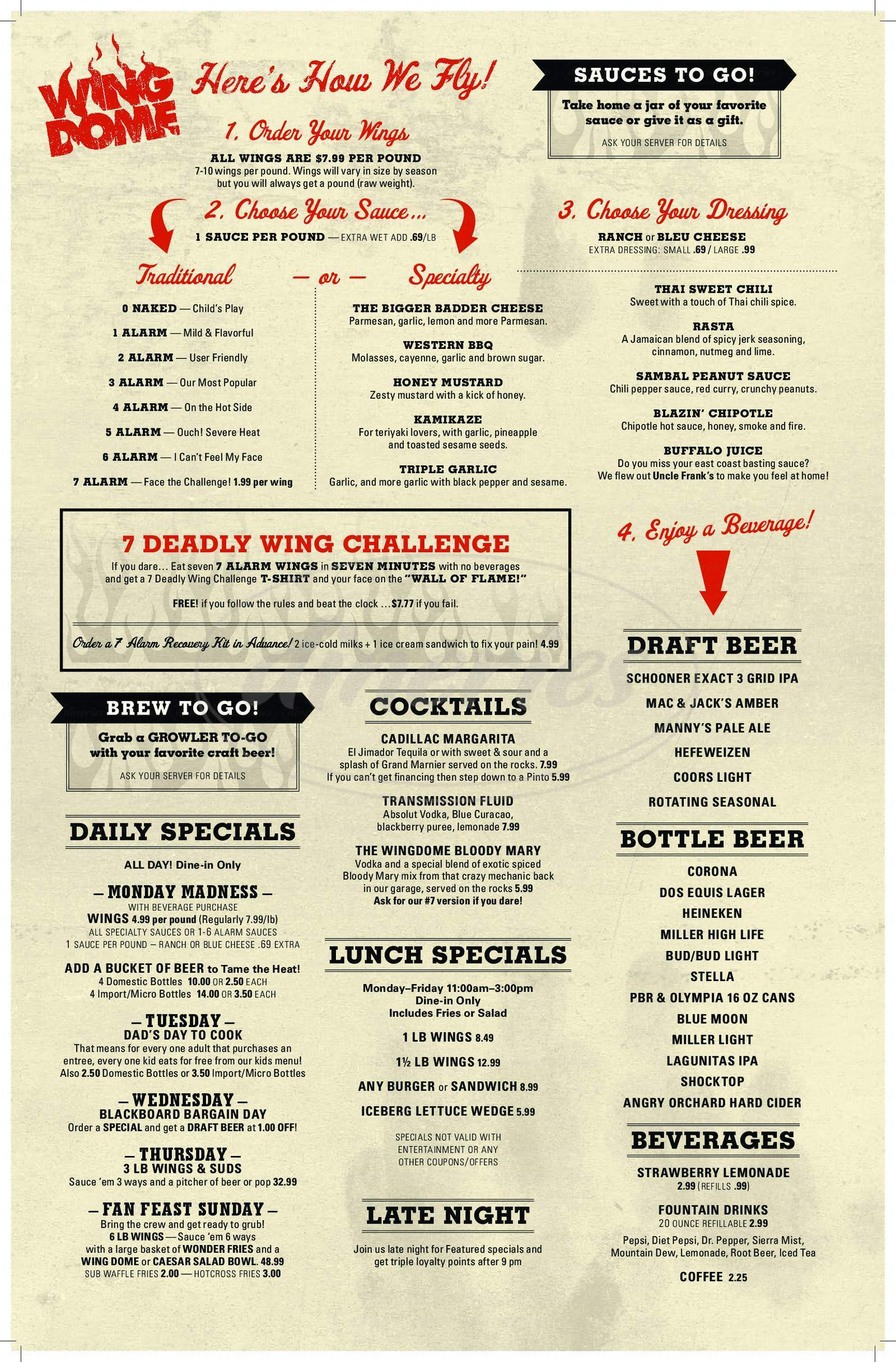 menu for Wing Dome
