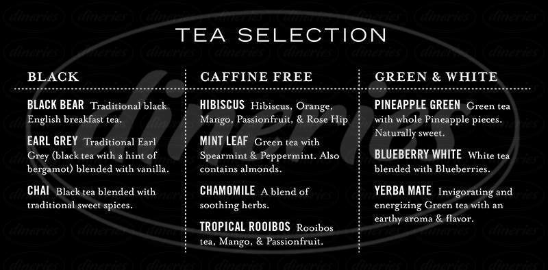 menu for The Woods Coffee