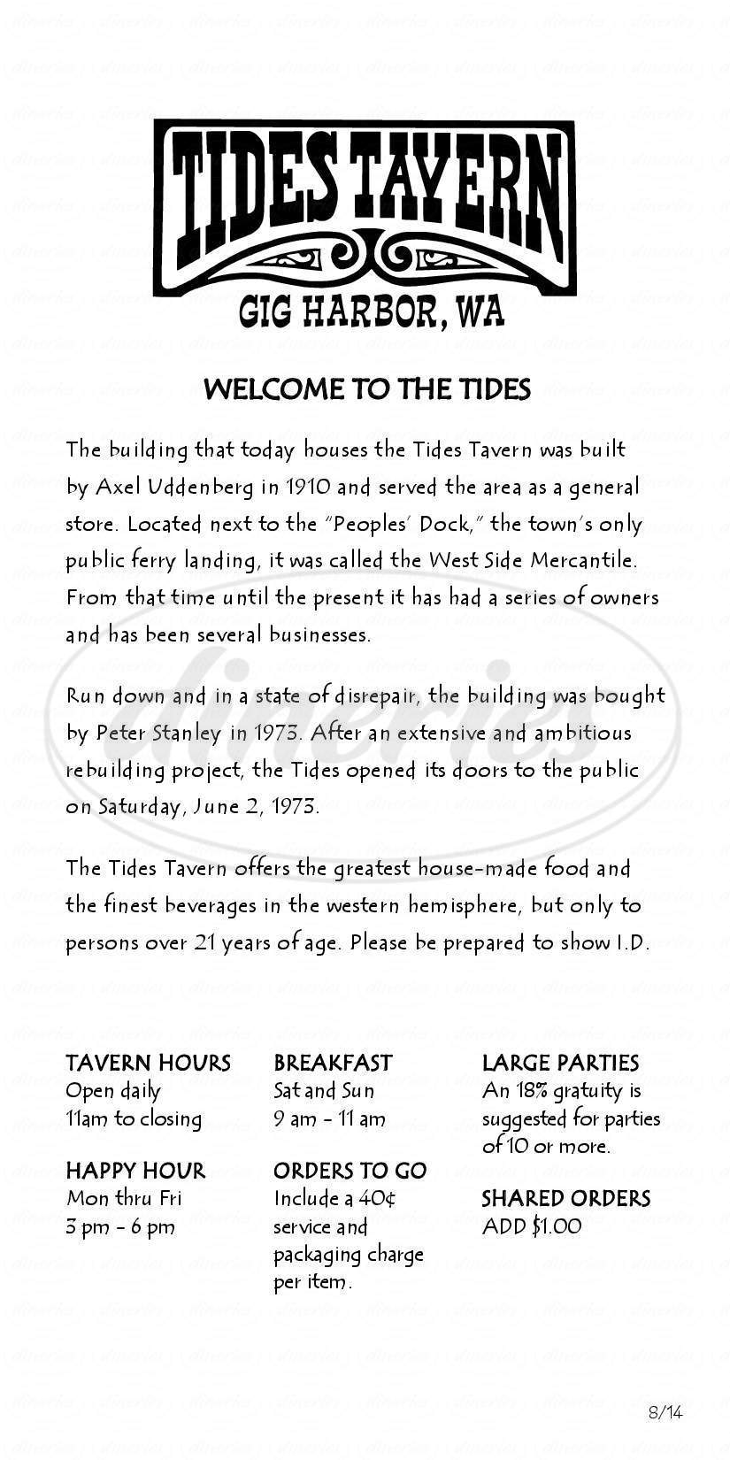 menu for Tides Tavern