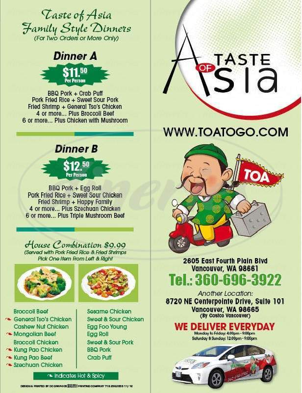 menu for Taste of Asia