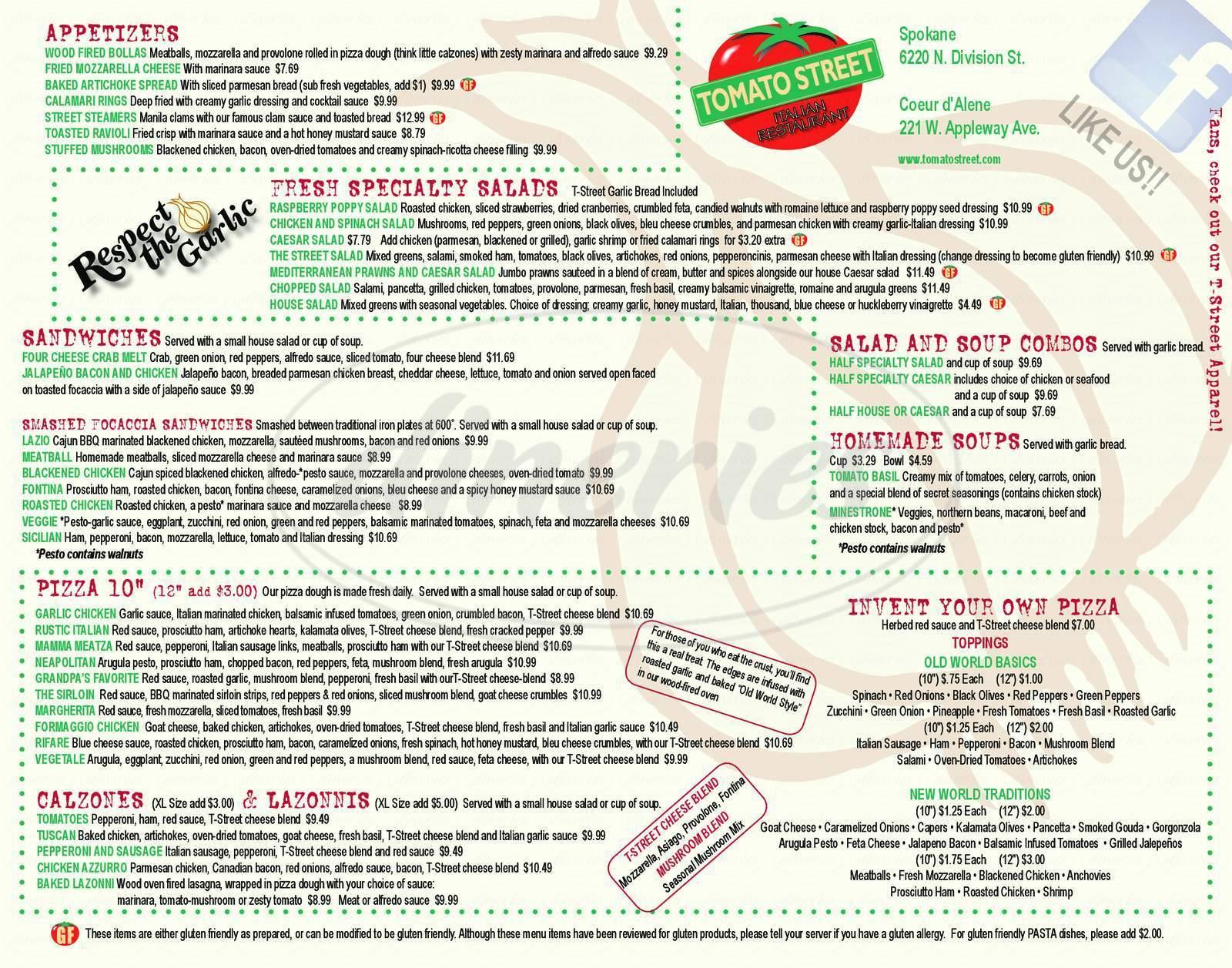 menu for Tomato Street