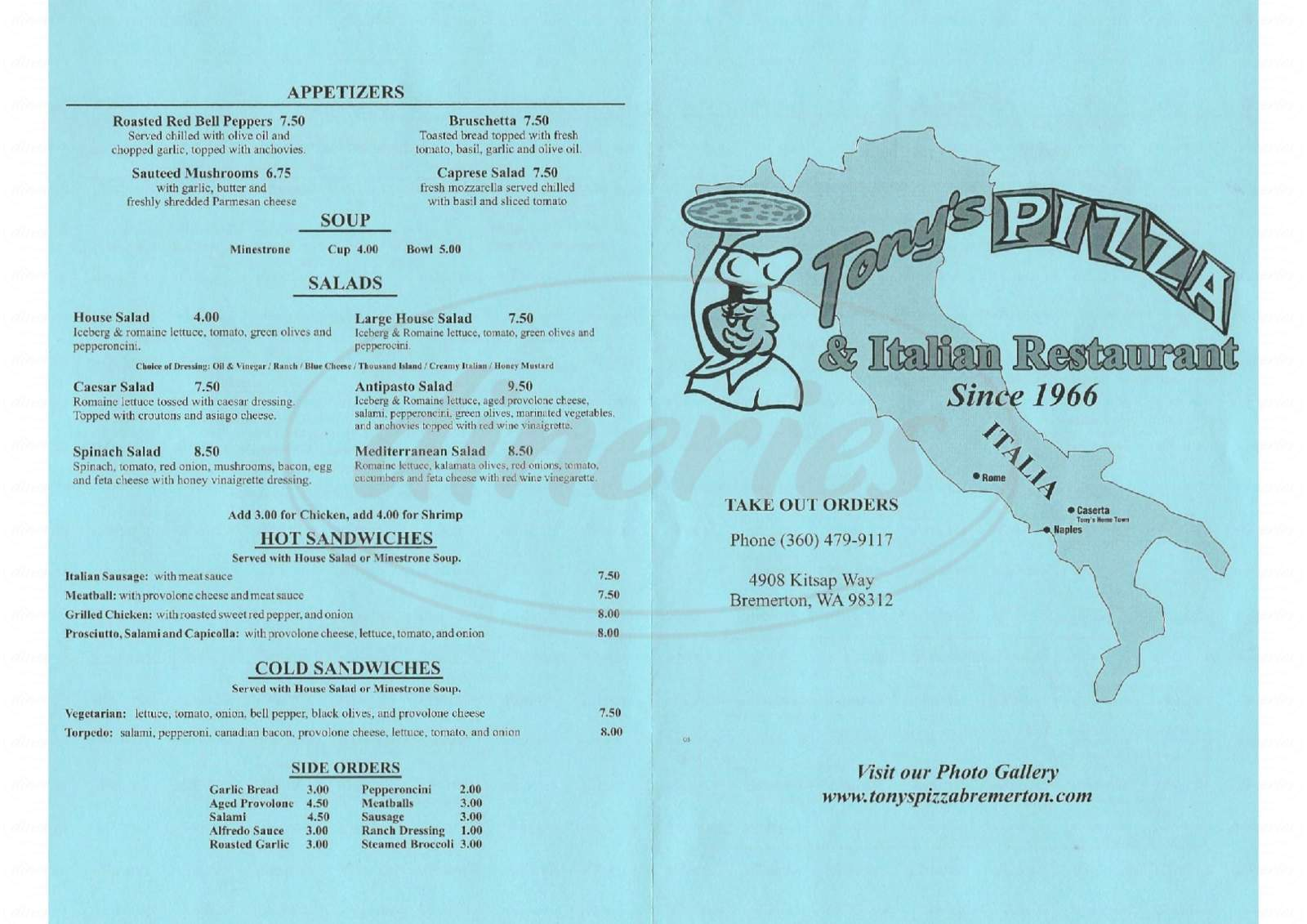 menu for Tony's Italian Restaurant & Pizzeria
